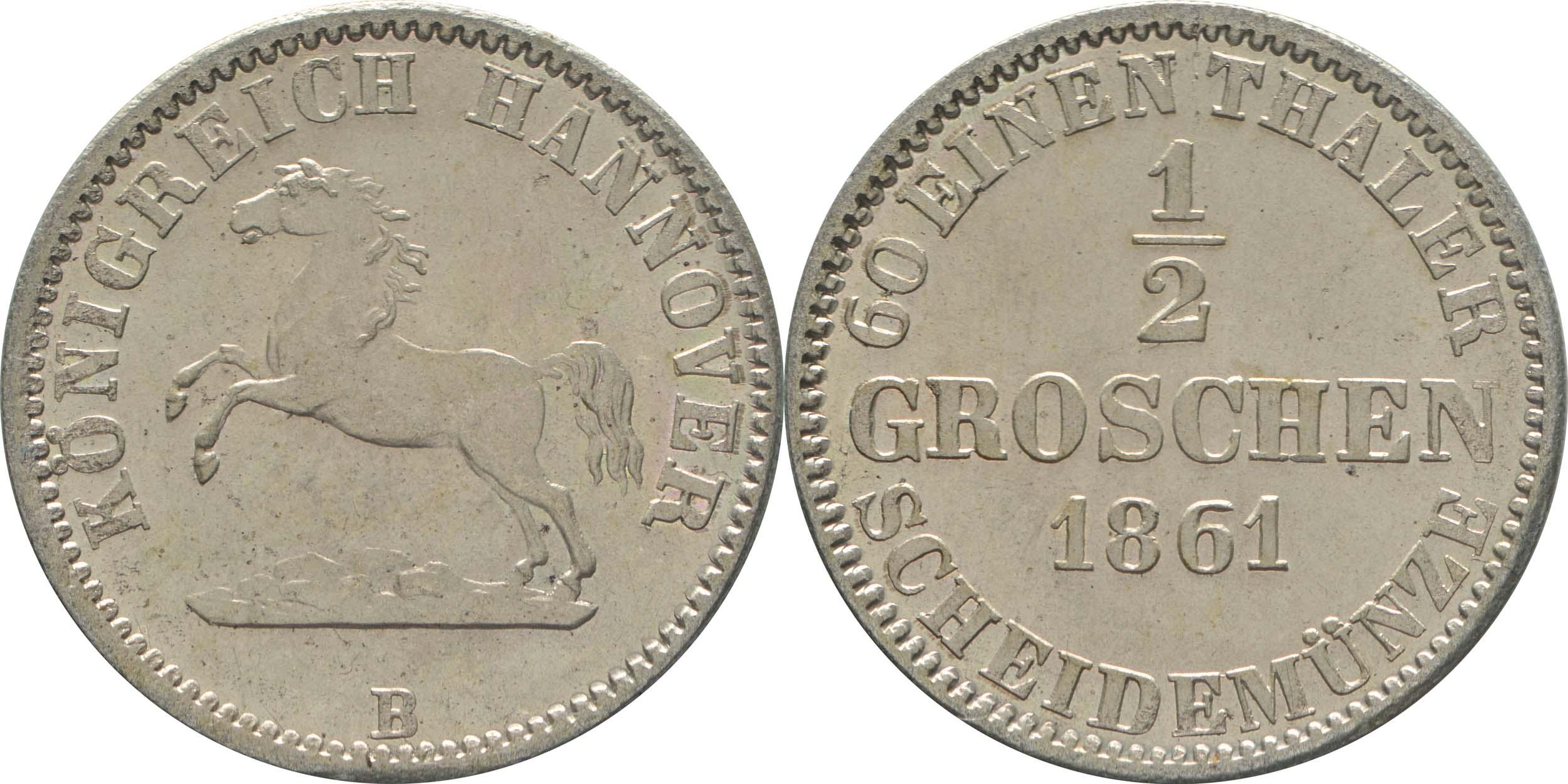 Übersicht:Deutschland : 1/2 Groschen  -fein- 1861 Stgl.
