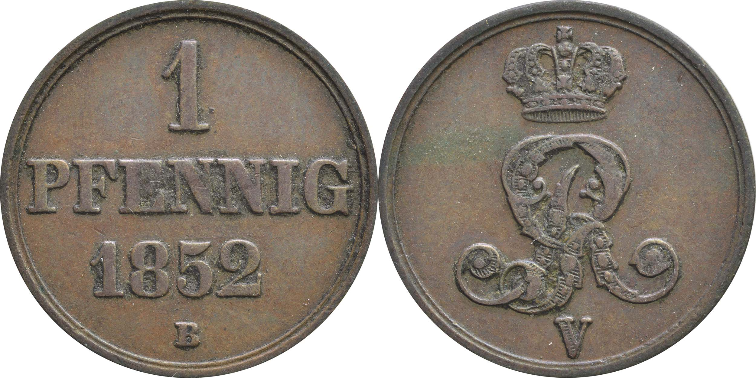 Lieferumfang:Deutschland : 1 Pfennig  -seltenes Jahr- 1852 vz.