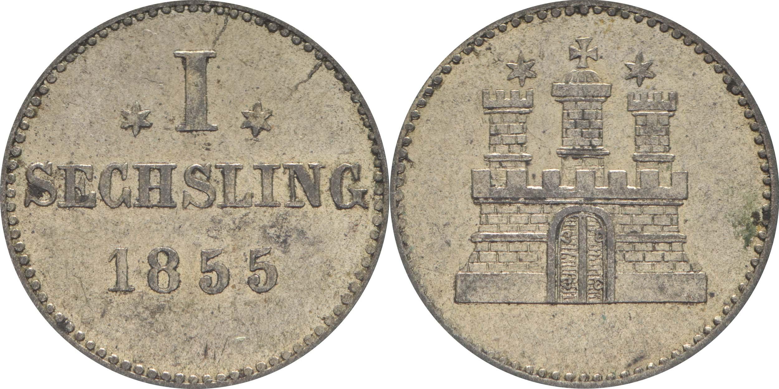 Deutschland : 1 Sechsling   1855 ss/vz.