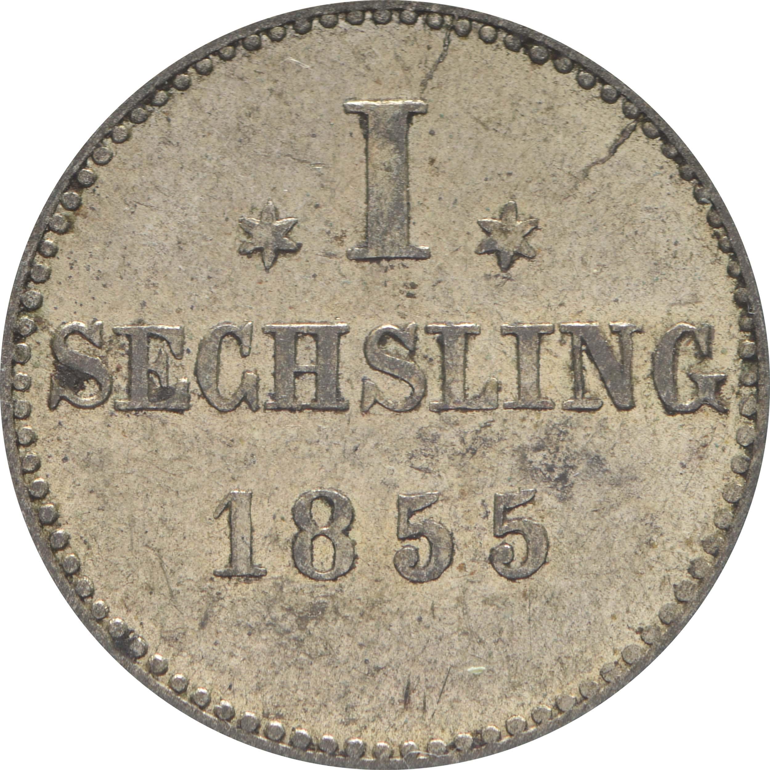 Vorderseite:Deutschland : 1 Sechsling   1855 ss/vz.