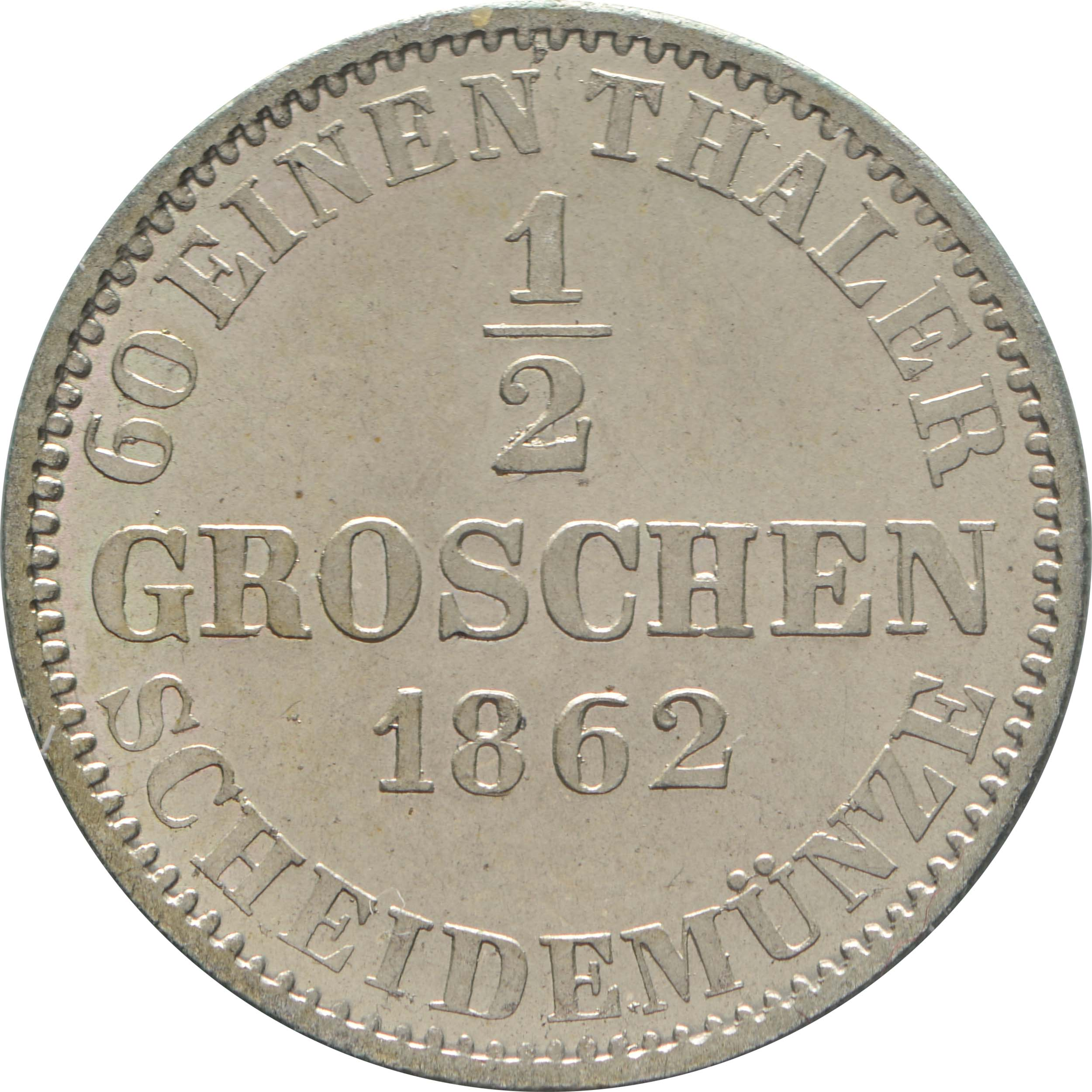 Rückseite:Deutschland : 1/2 Groschen   1862 Stgl.