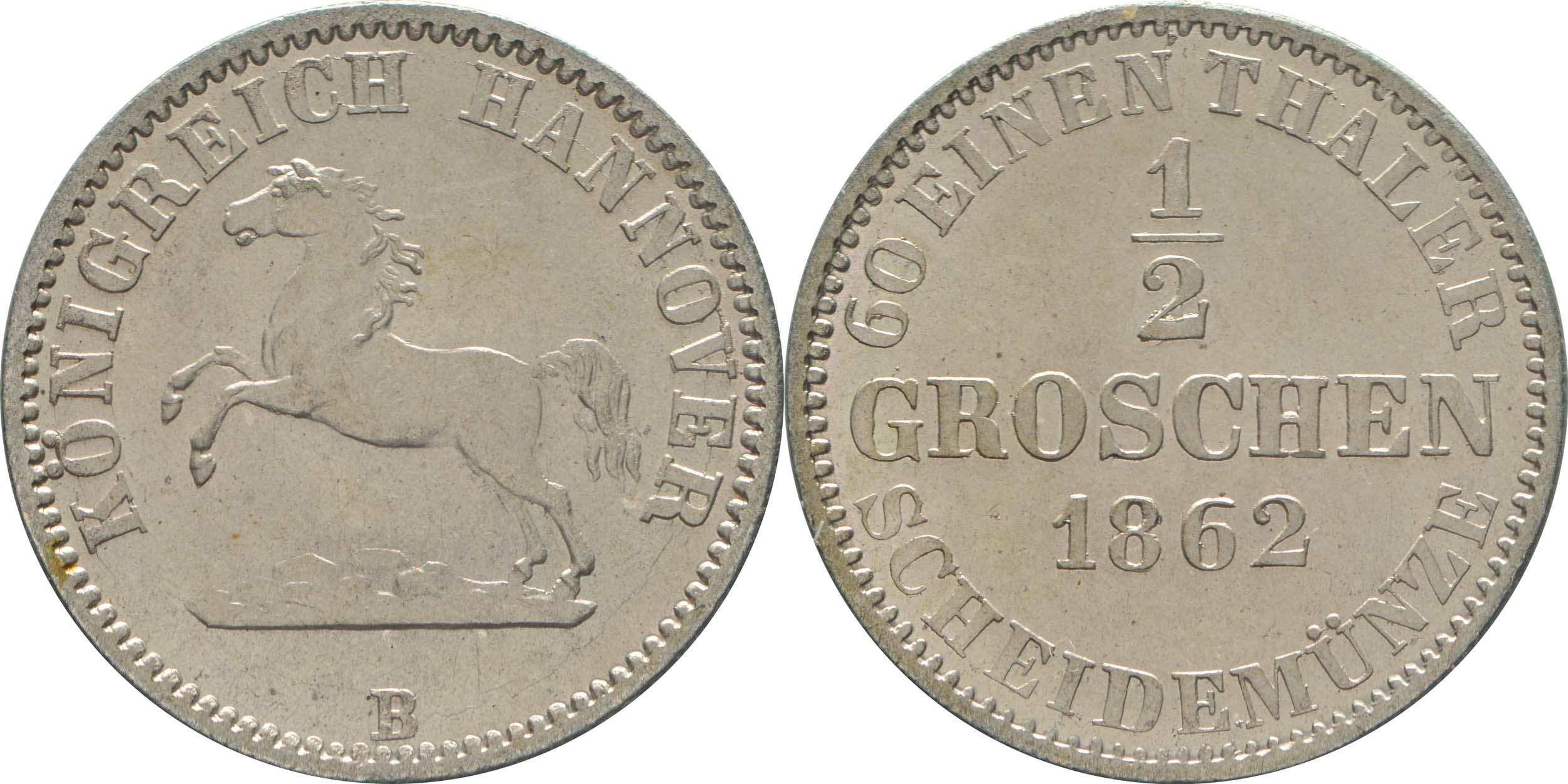 Lieferumfang:Deutschland : 1/2 Groschen   1862 Stgl.