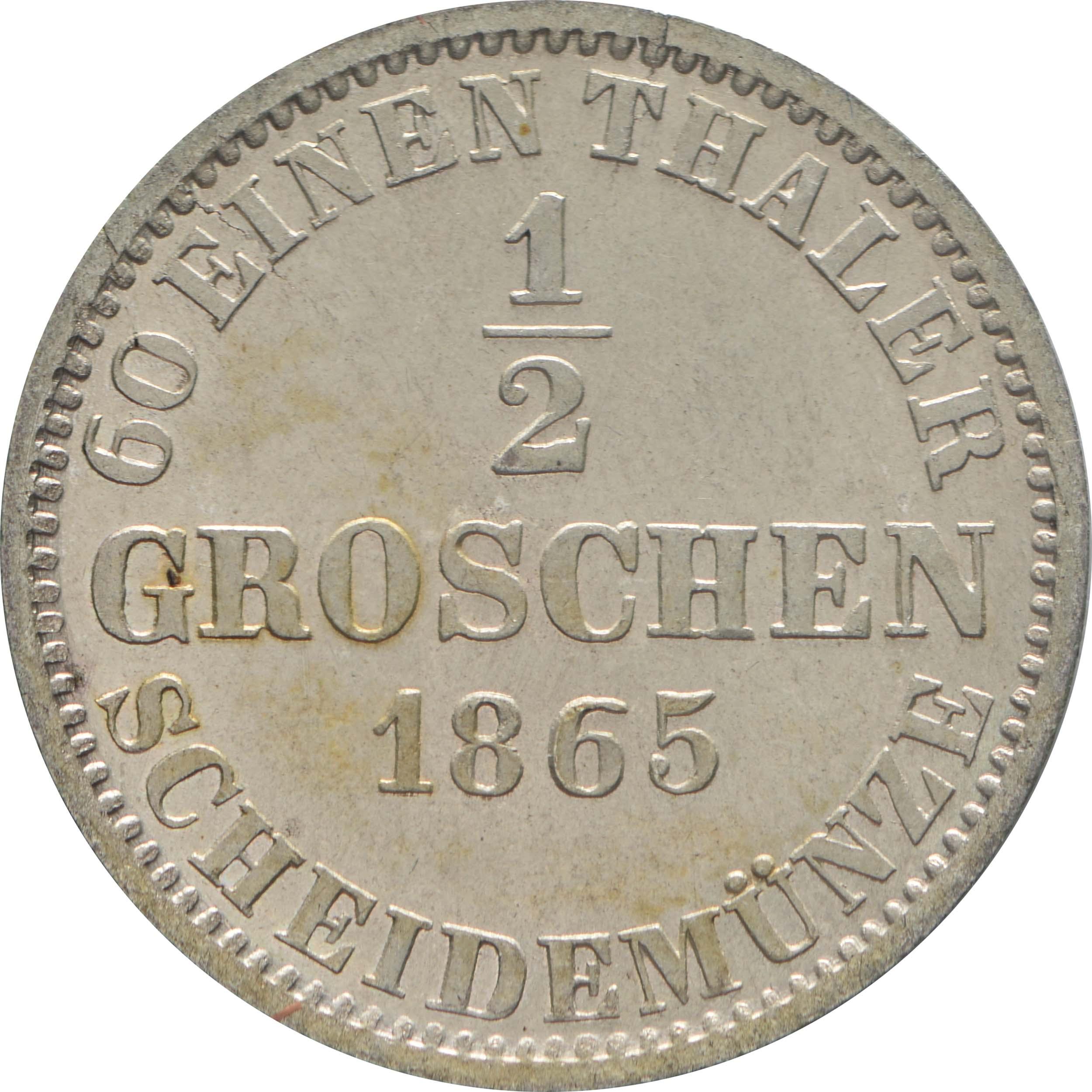 Rückseite:Deutschland : 1/2 Groschen   1865 Stgl.