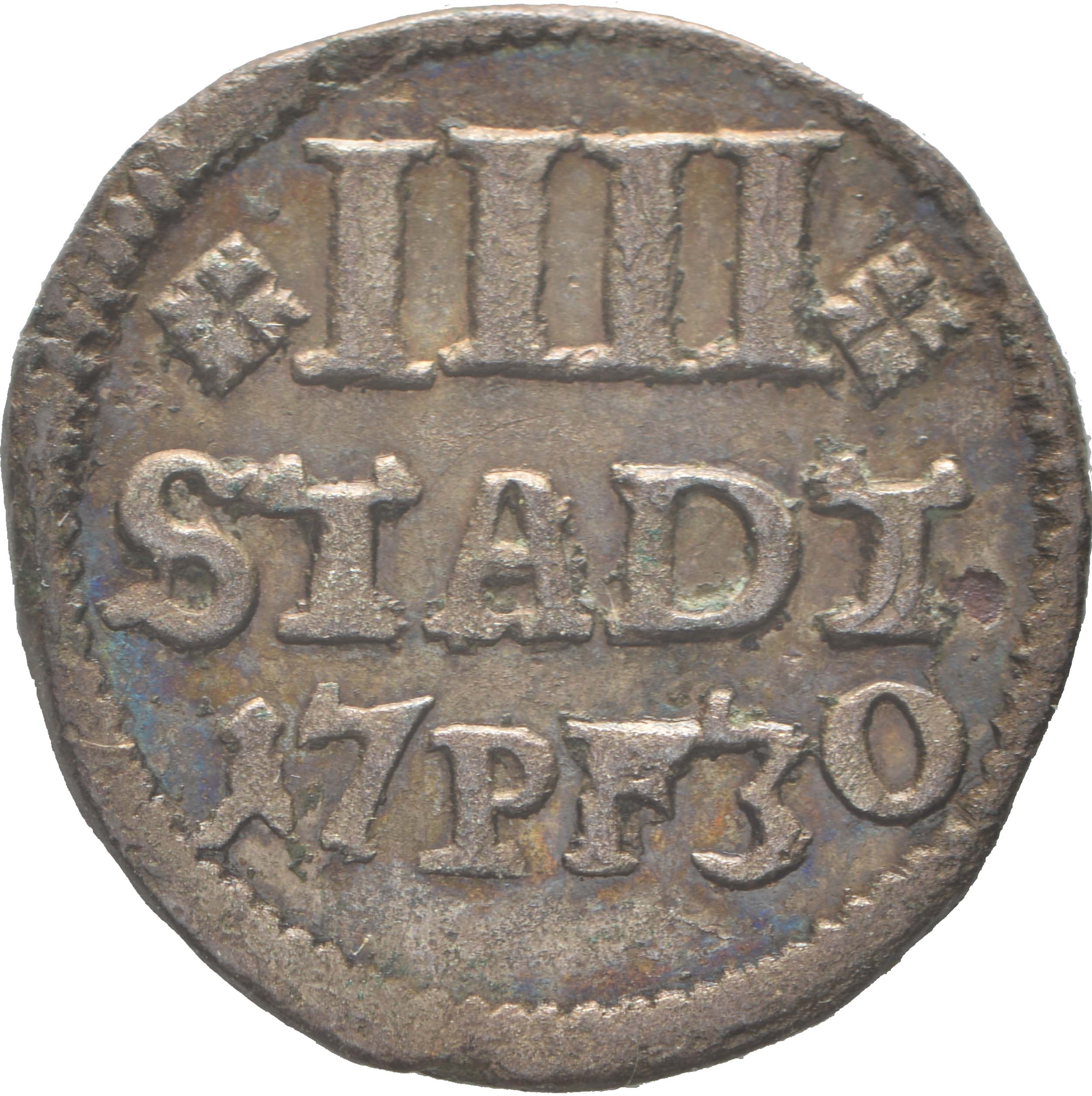 Vorderseite :Deutschland : 4 Pfennig   1730 vz.