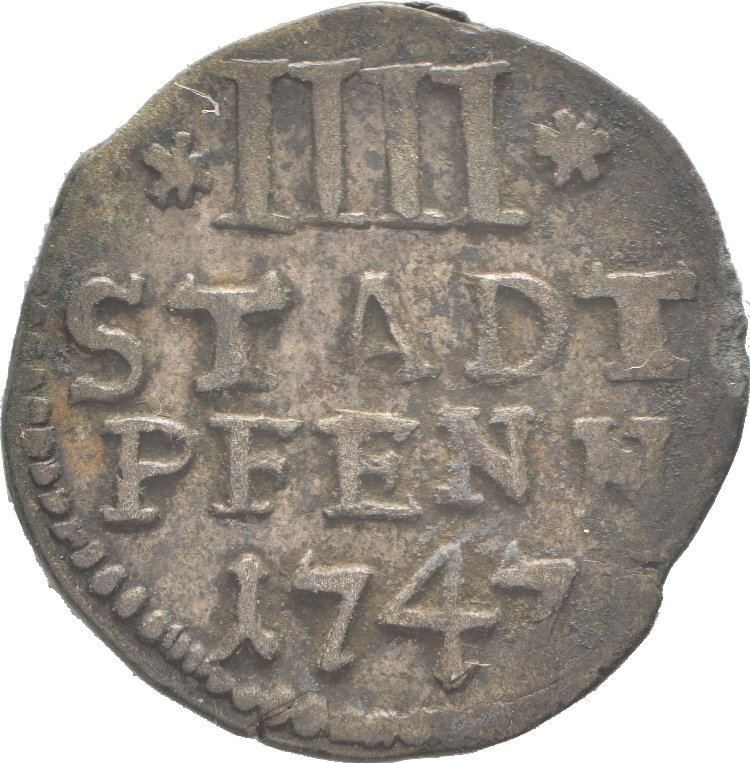 Vorderseite:Deutschland : 4 Pfennig   1747 ss.