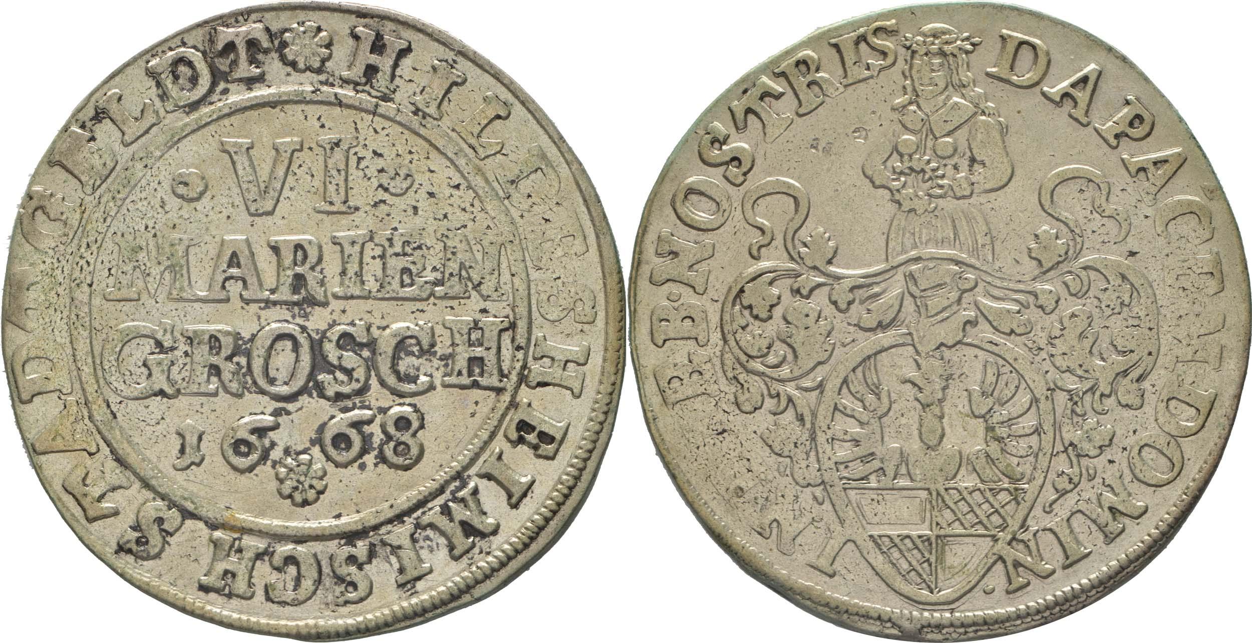 Lieferumfang:Deutschland : 6 Mariengroschen  -selten- 1668 ss.