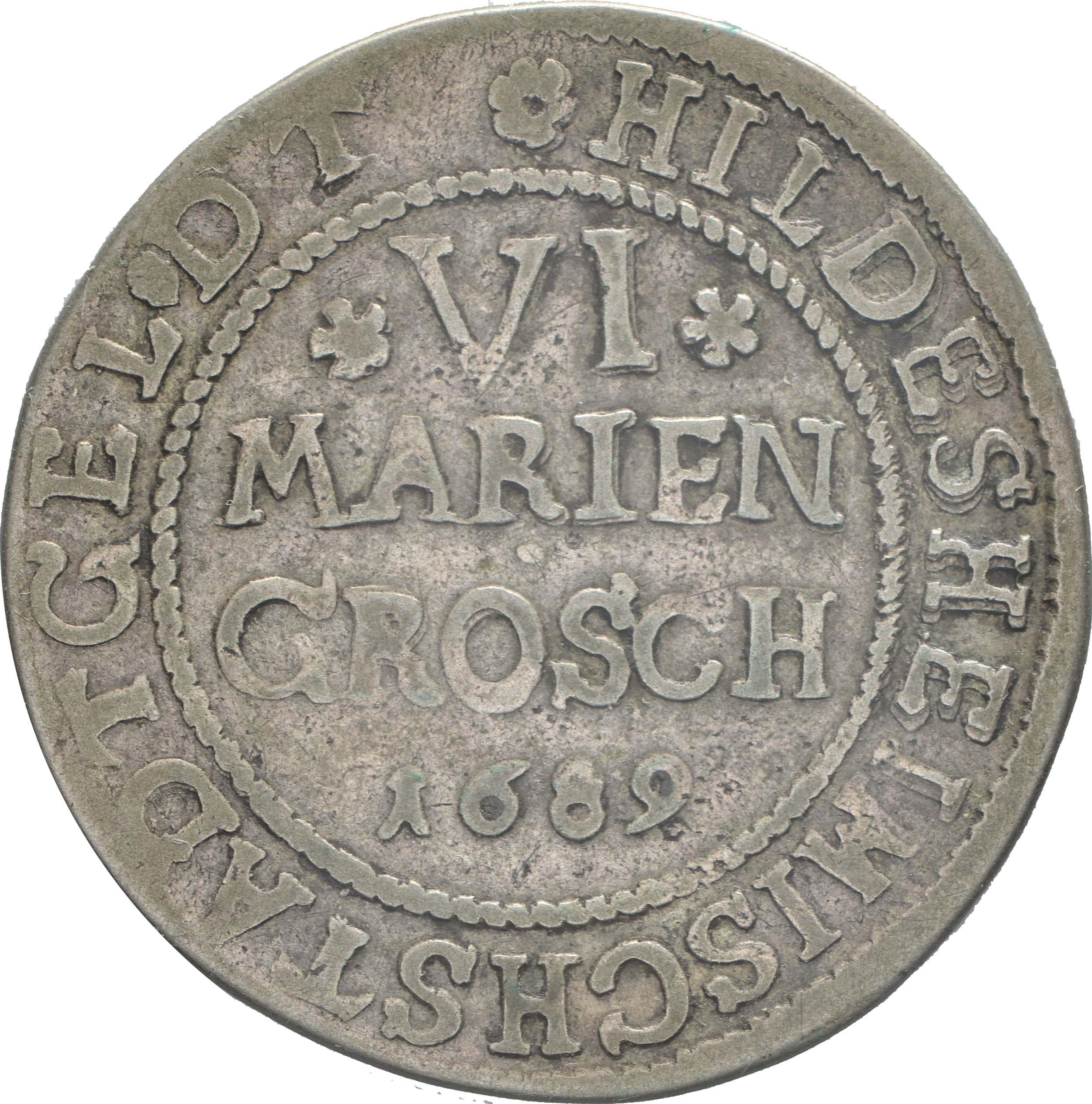Vorderseite:Deutschland : 6 Mariengroschen   1689 ss.