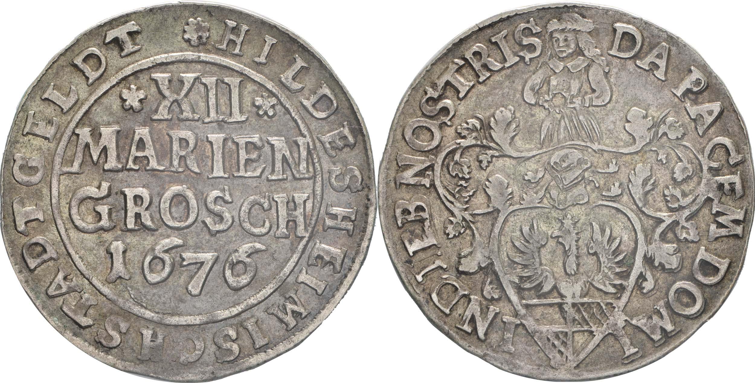 Übersicht:Deutschland : 12 Mariengroschen   1676 ss/vz.