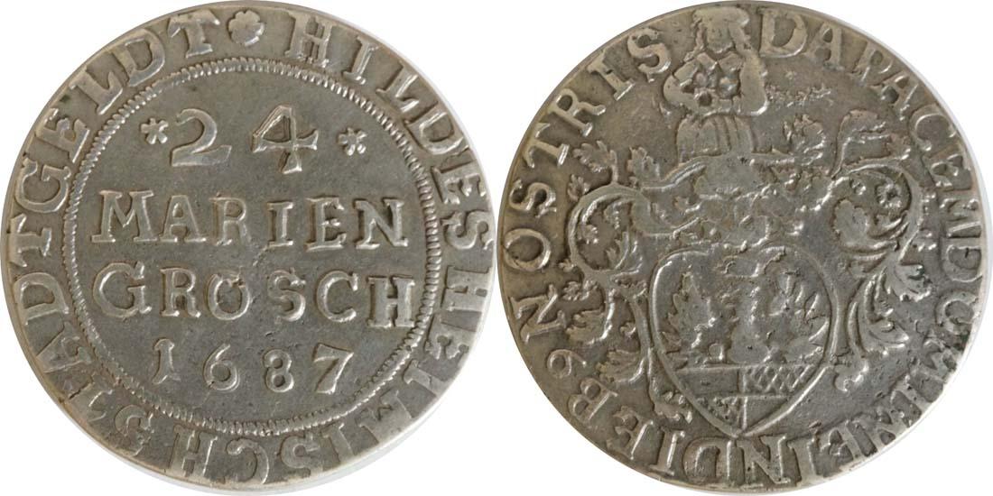 Deutschland : 24 Mariengroschen  winz. Kratzer 1687 ss/vz.