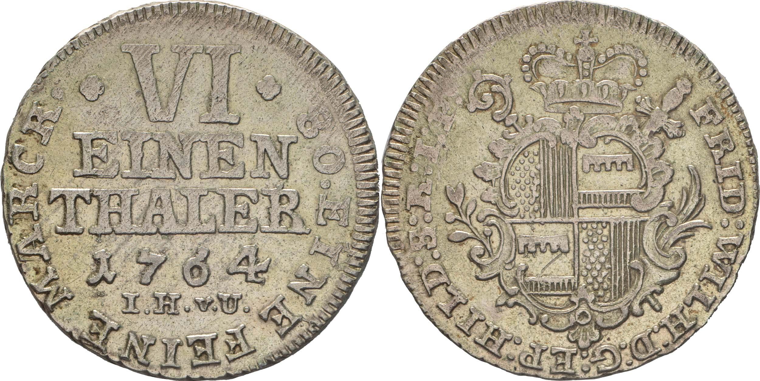 Deutschland : 1/6 Taler Friedrich Wilhelm von Westfalen !Erhaltung! 1764 vz.