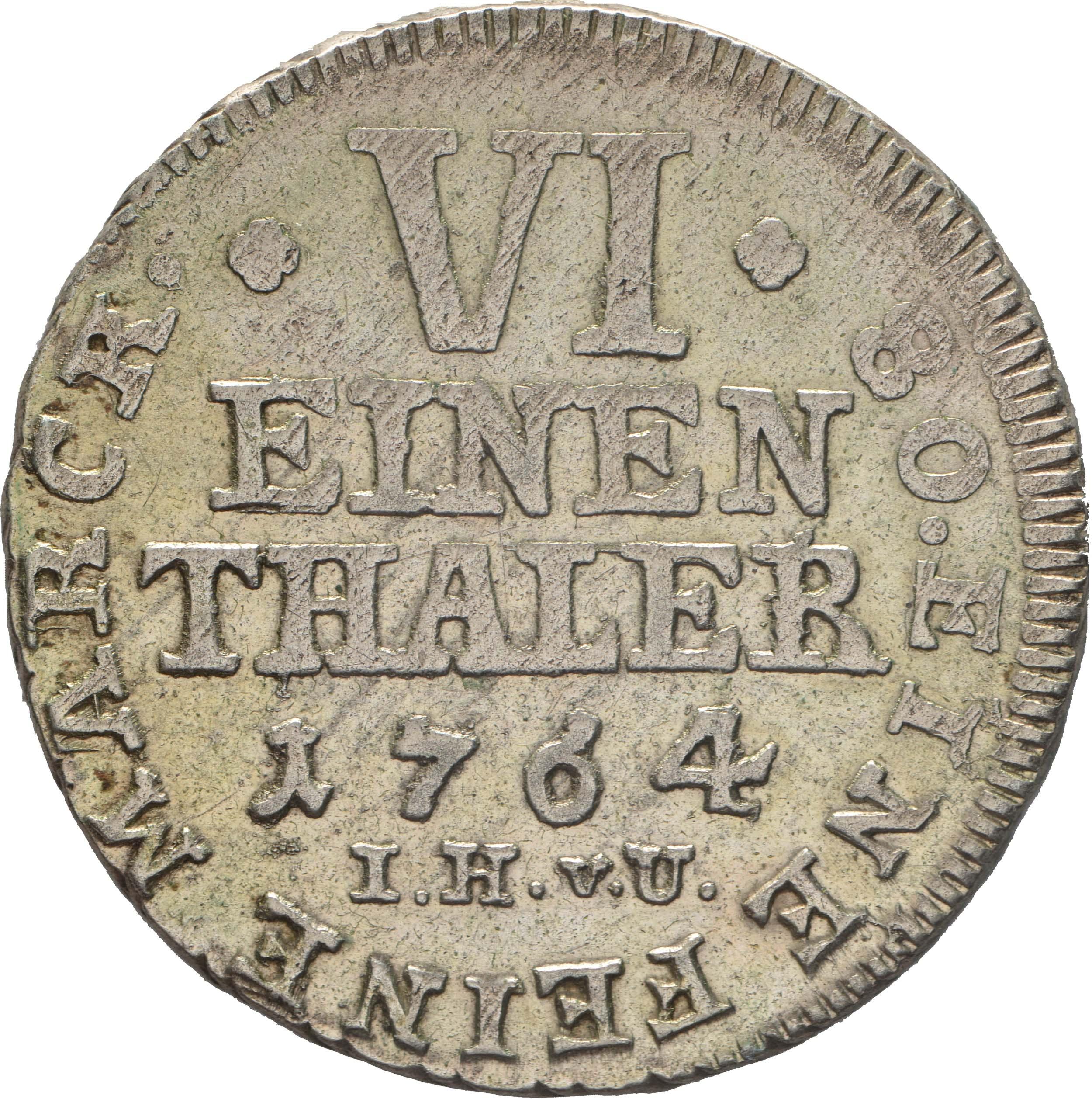 Vorderseite :Deutschland : 1/6 Taler Friedrich Wilhelm von Westfalen !Erhaltung! 1764 vz.