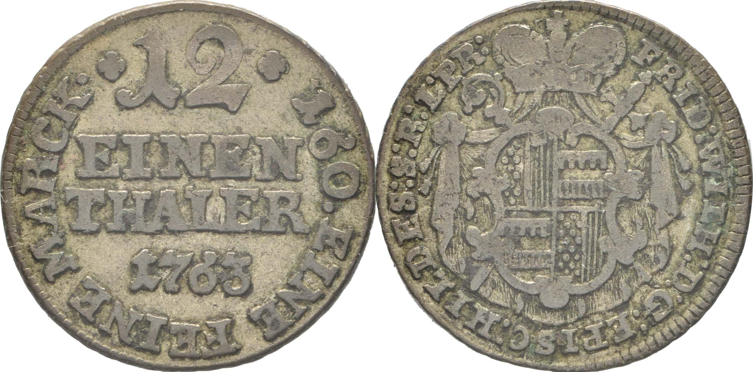 Übersicht:Deutschland : 1/12 Taler Friedrich Wilhelm von Westfalen  1763 ss.