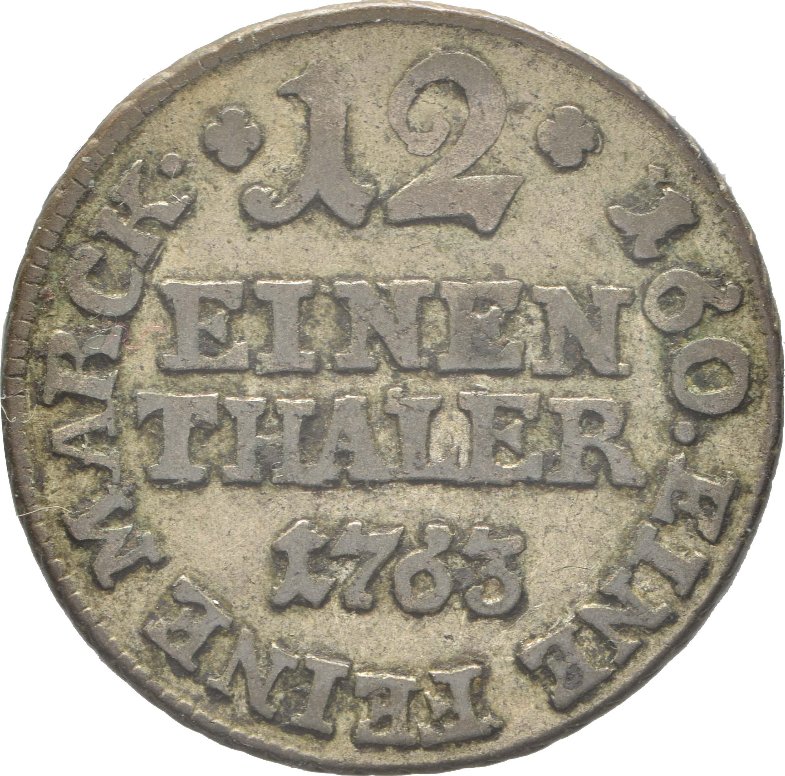 Vorderseite:Deutschland : 1/12 Taler Friedrich Wilhelm von Westfalen  1763 ss.