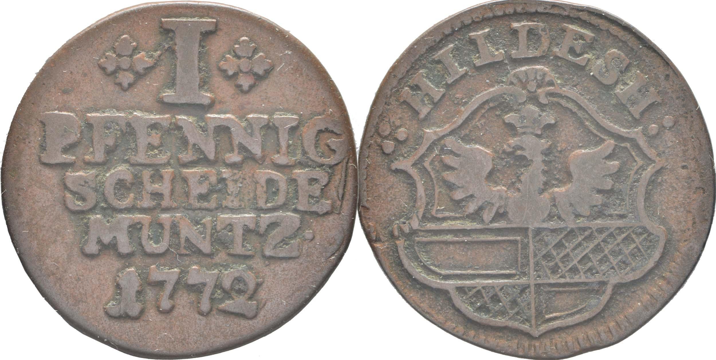 Deutschland : 1 Pfennig  -selten- 1772 vz.
