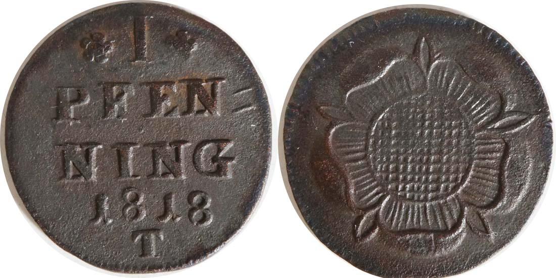 Deutschland : 1 Pfennig   1818 vz.