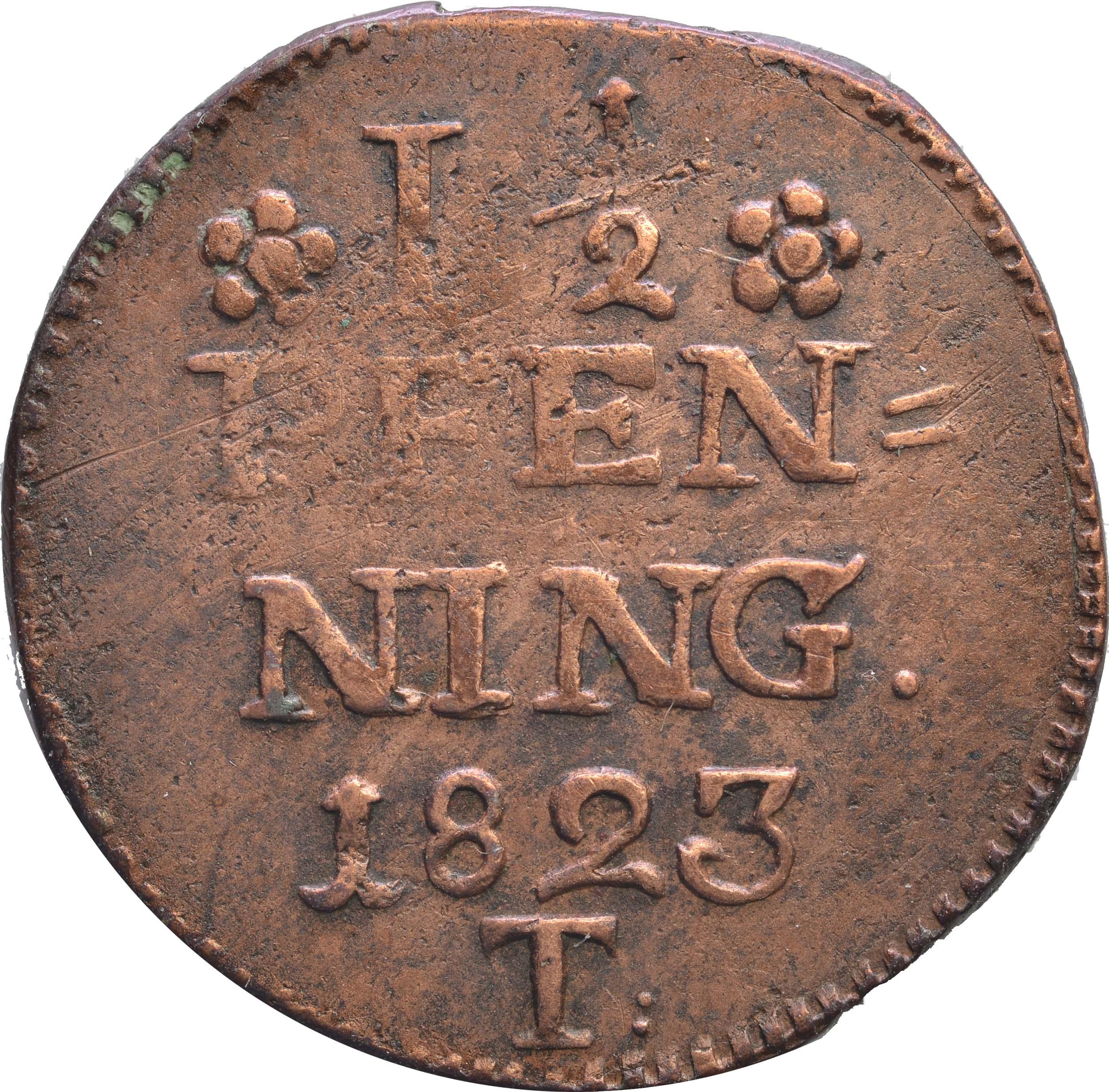 Vorderseite :Deutschland : 1 1/2 Pfennig Zainende  1823 s.