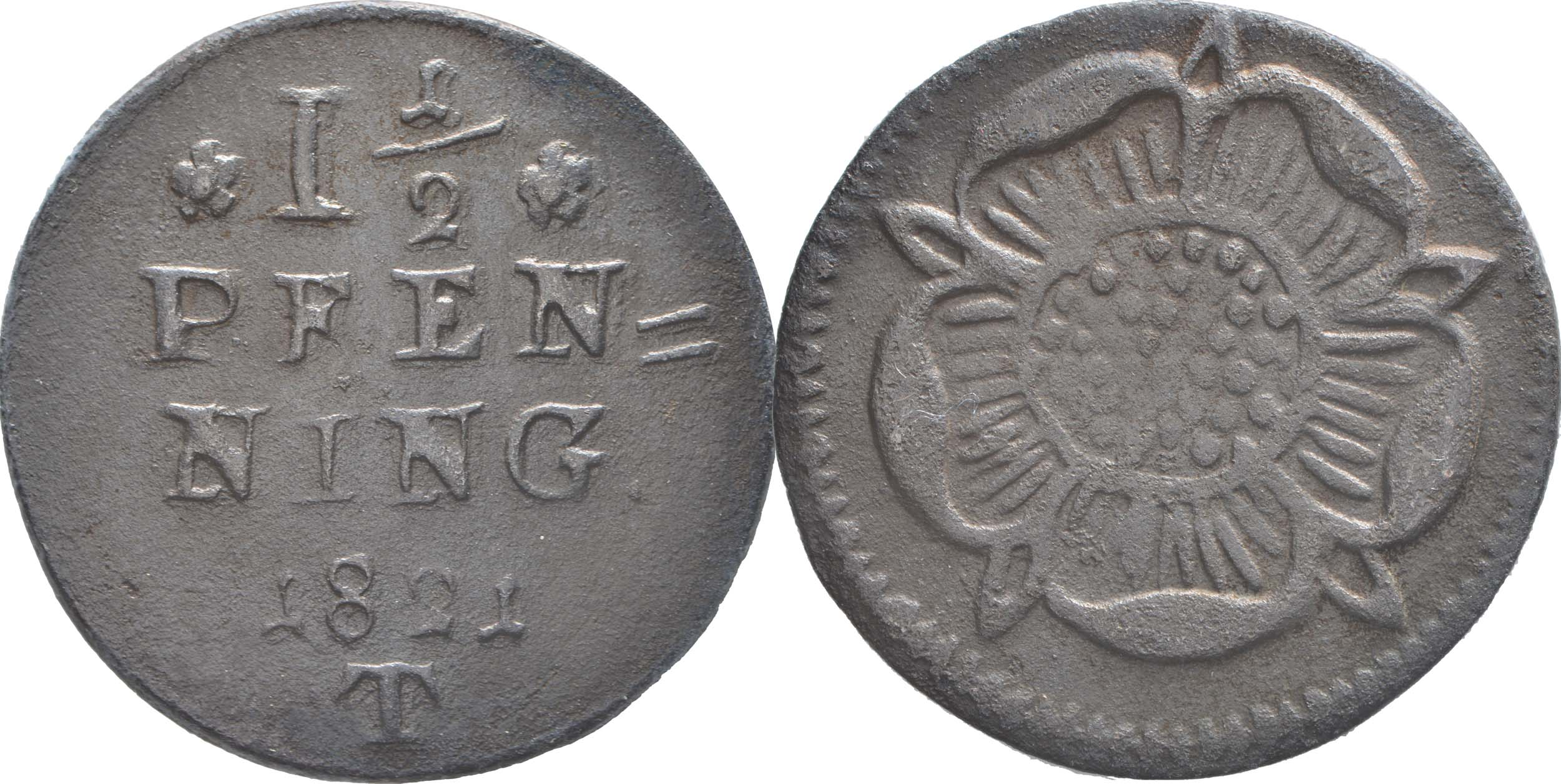 Deutschland : 1 1/2 Pfennig   1821 ss/vz.