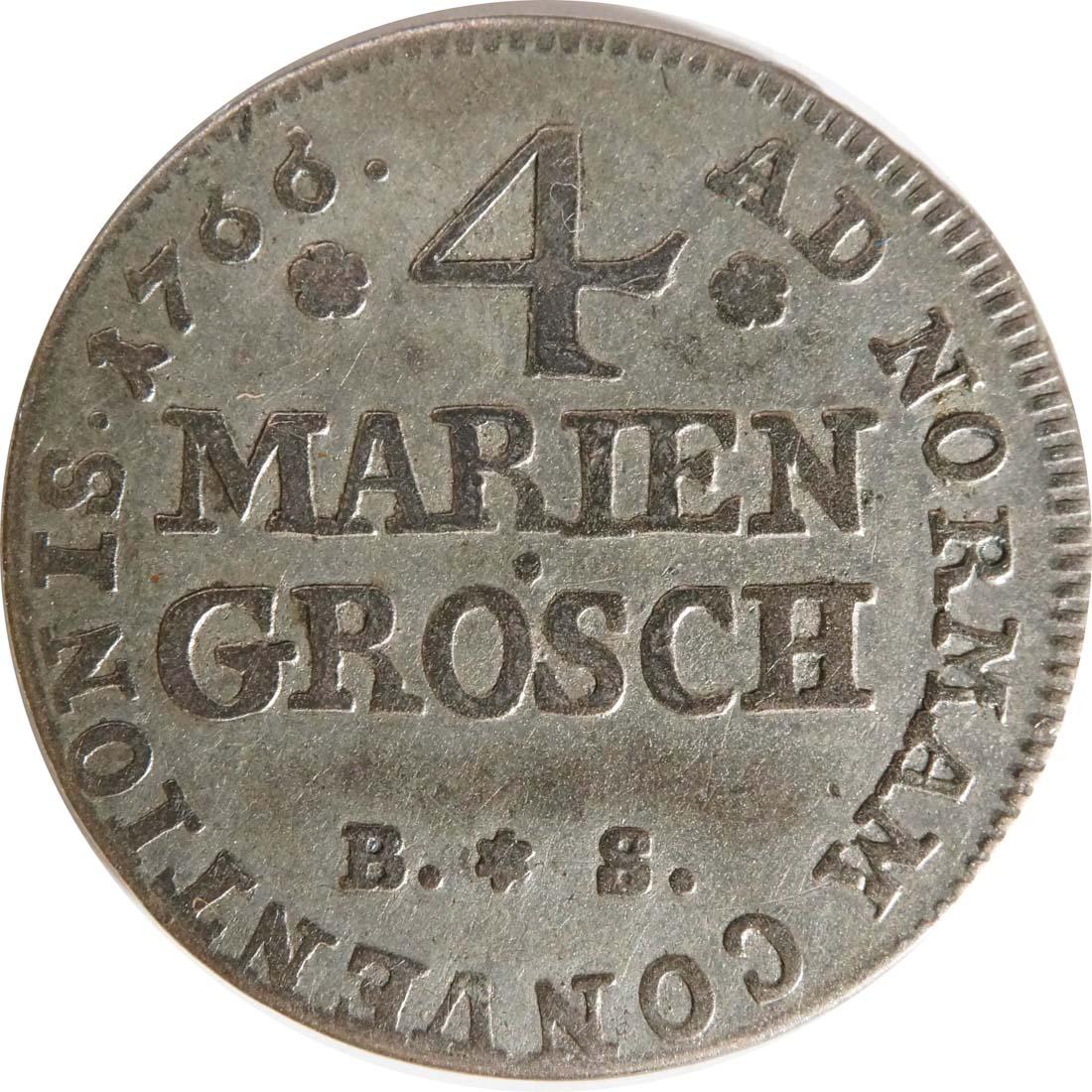 Vorderseite:Deutschland : 4 Mariengroschen Simon August  1766 ss.
