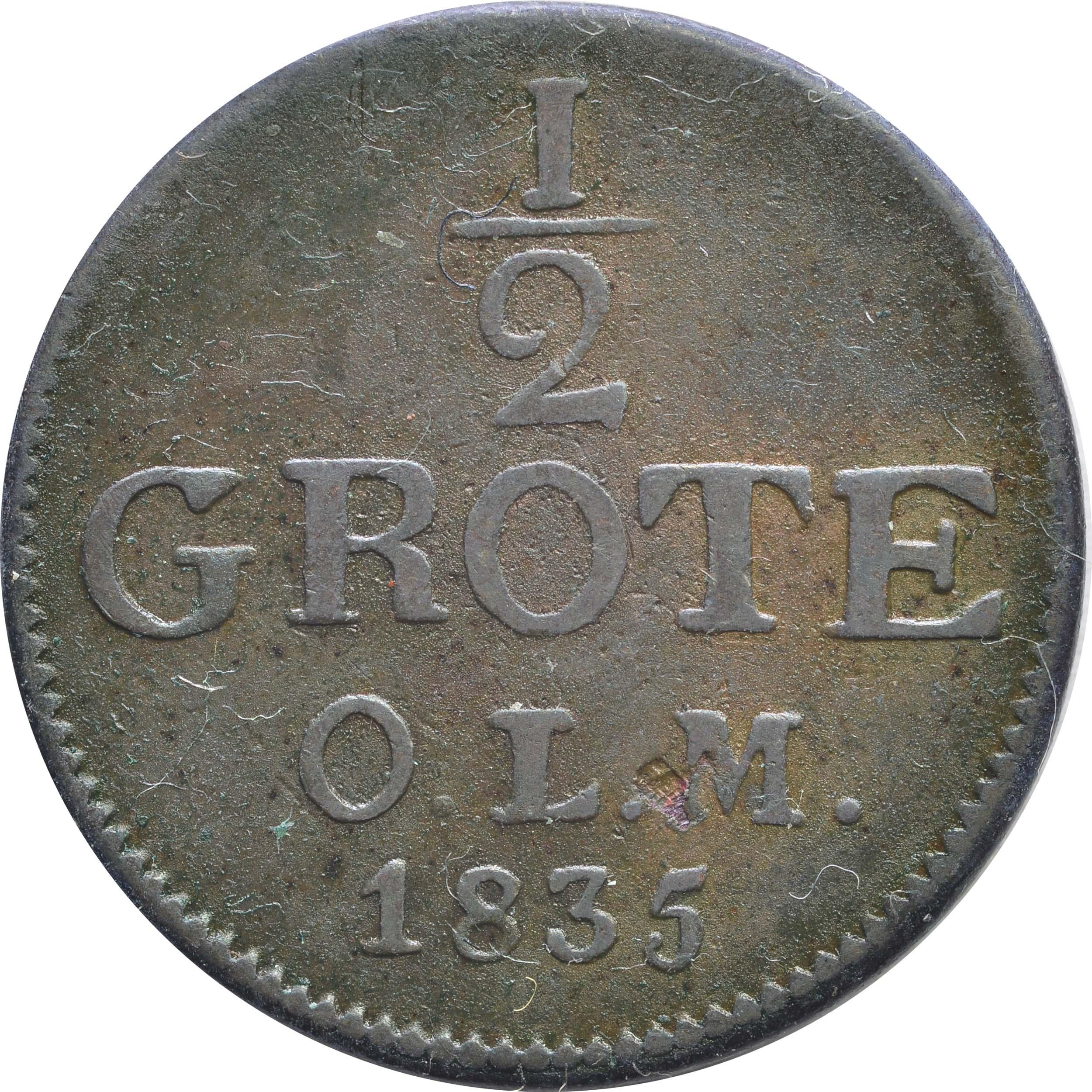 Vorderseite :Deutschland : 1/2 Grote   1835 ss.