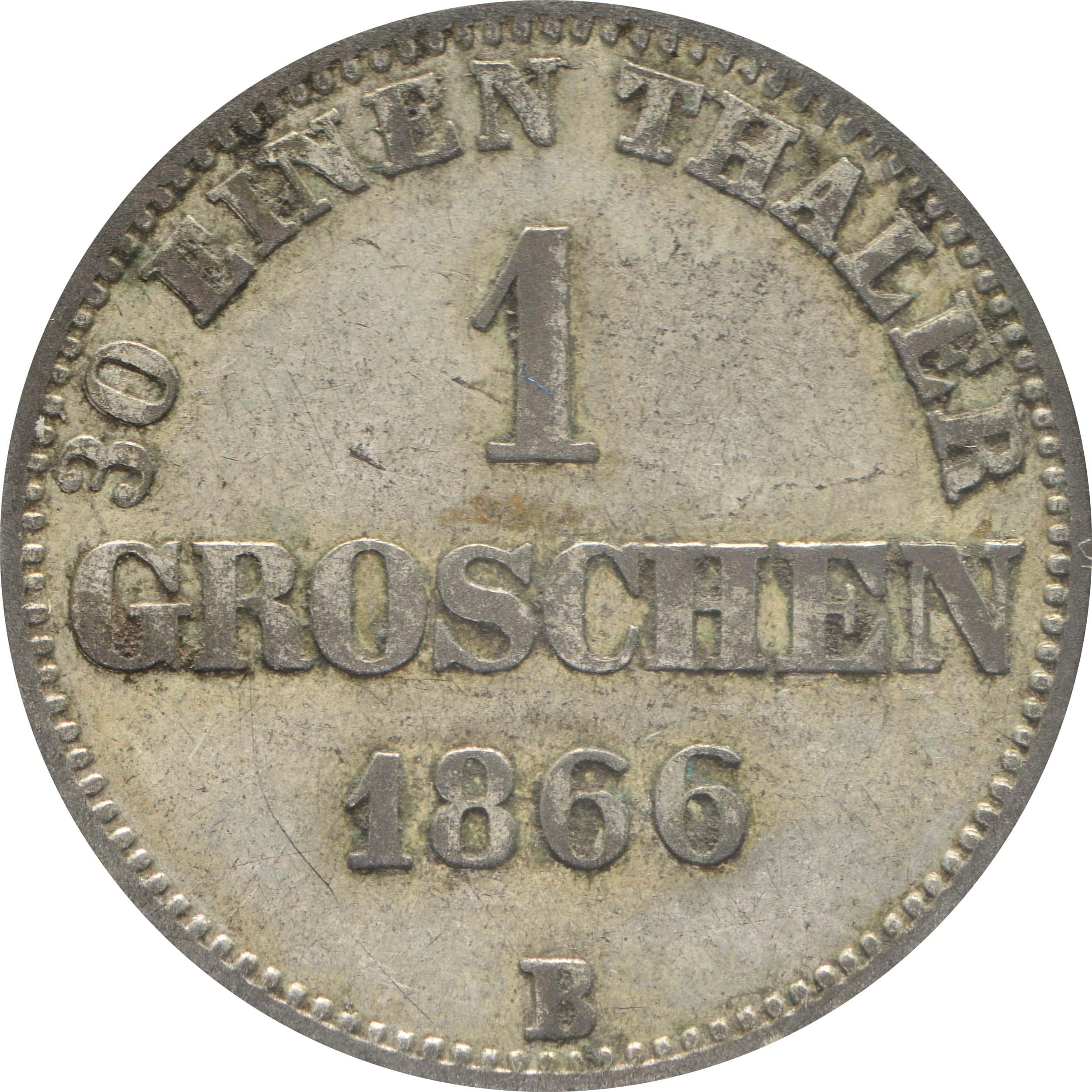 Vorderseite :Deutschland : 1 Groschen   1866 ss.