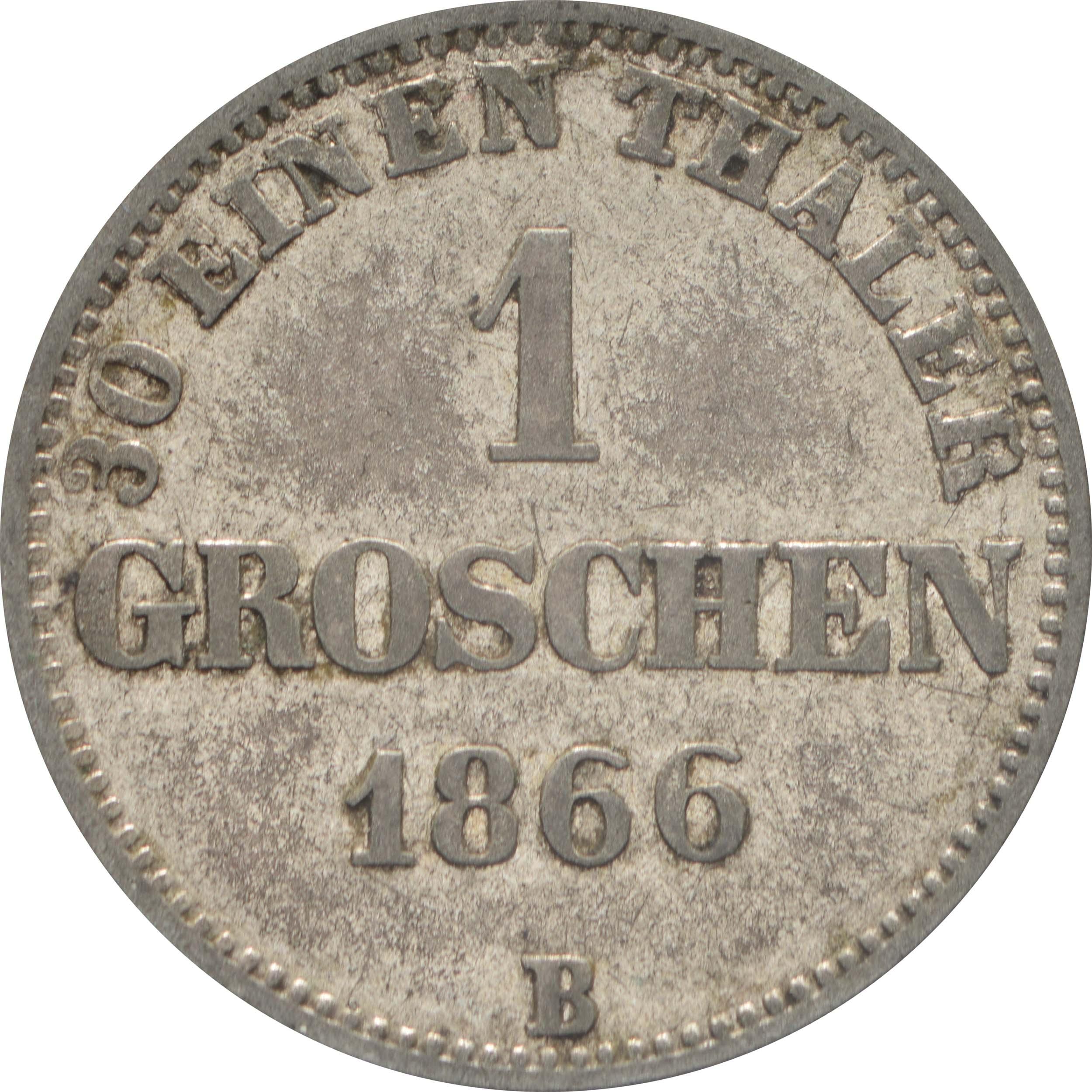 Vorderseite:Deutschland : 1 Groschen   1866 f.ss