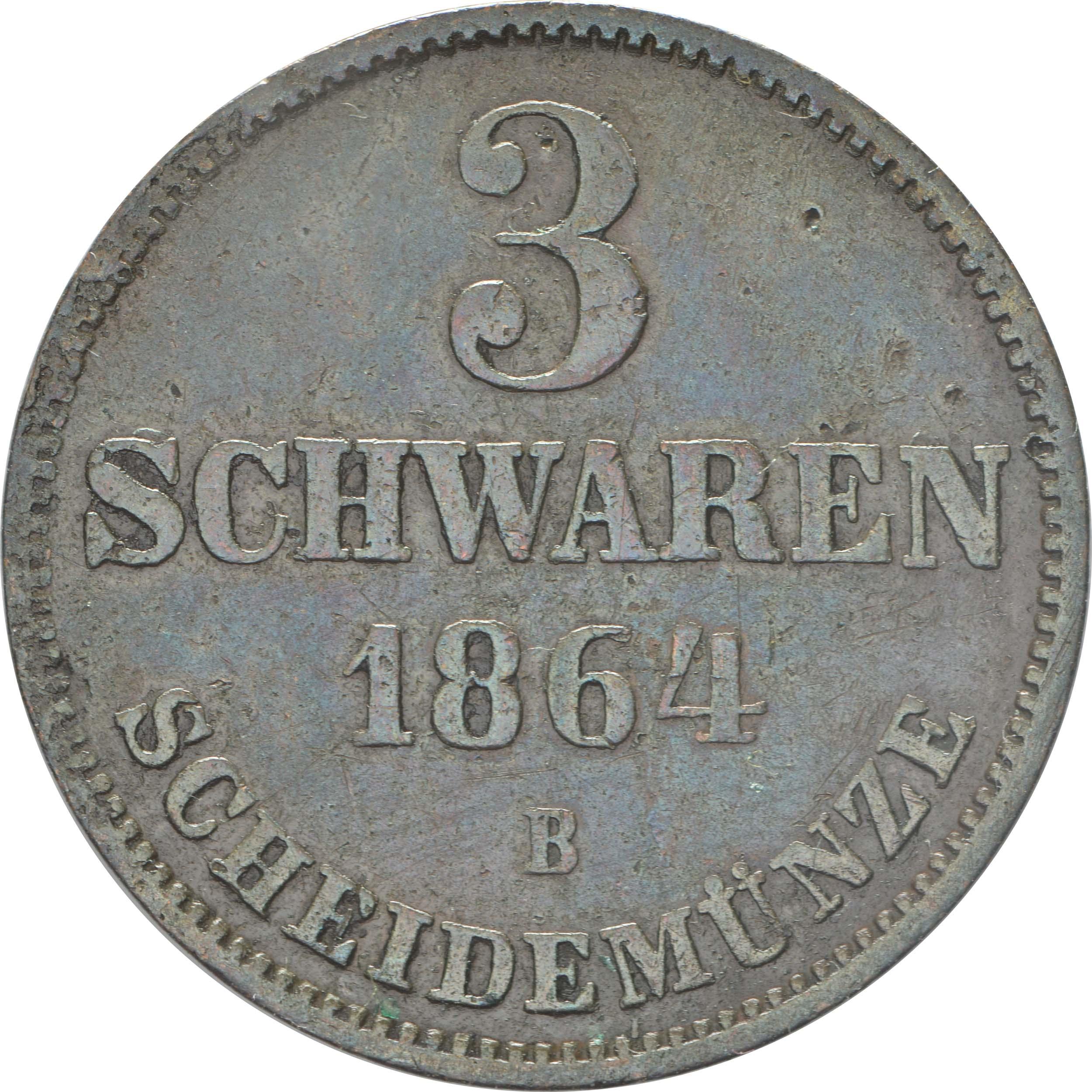 Vorderseite:Deutschland : 3 Schwaren  patina 1864 vz.