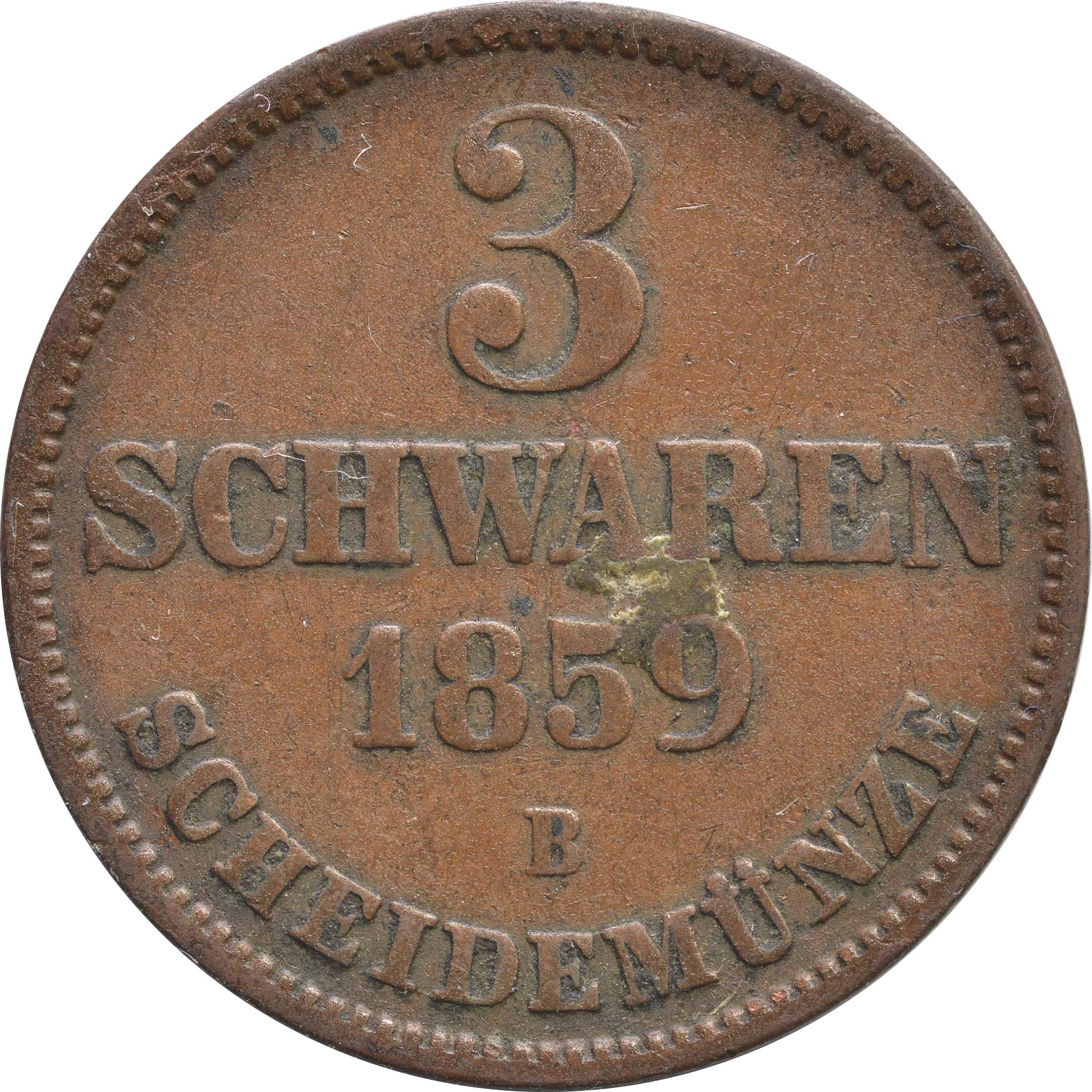 Vorderseite:Deutschland : 3 Schwaren   1859 ss.