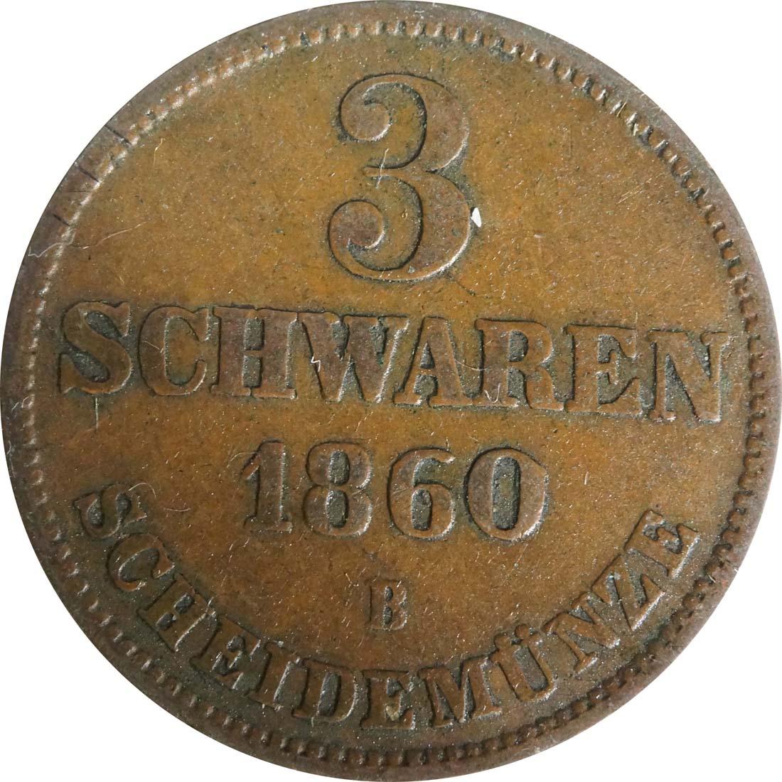 Vorderseite:Deutschland : 3 Schwaren   1860 ss/vz.