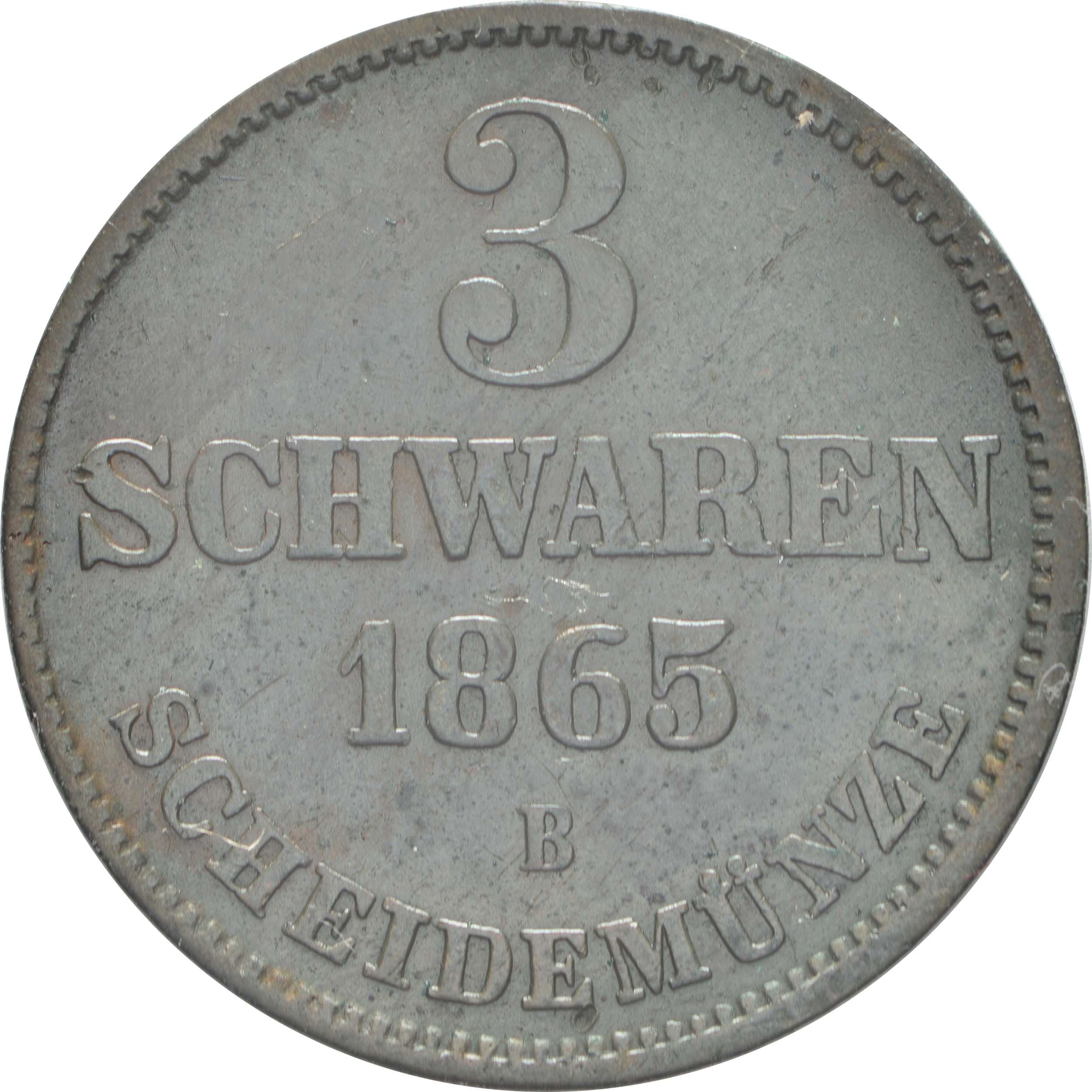 Vorderseite:Deutschland : 3 Schwaren   1865 ss/vz.