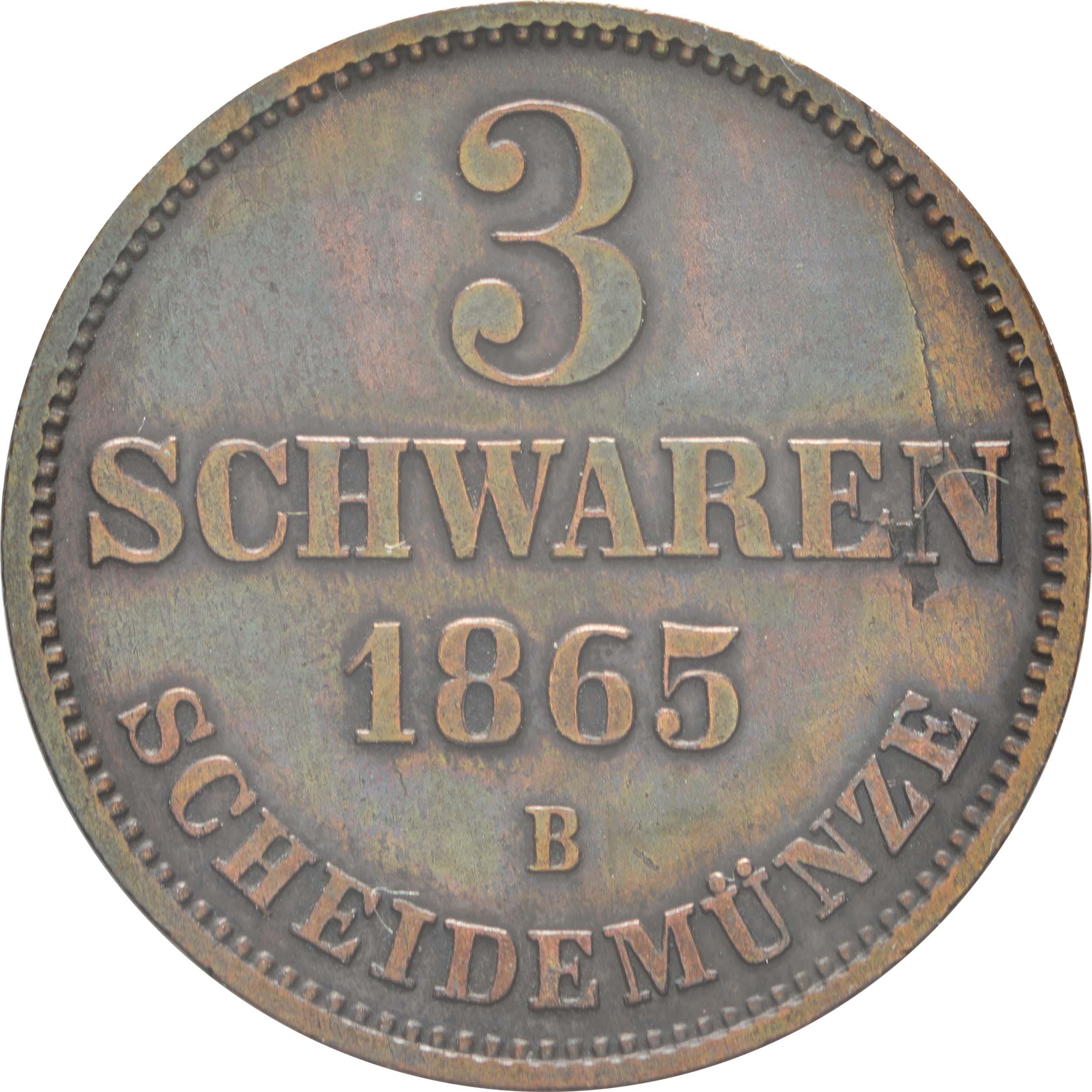 Vorderseite:Deutschland : 3 Schwaren   1865 vz.