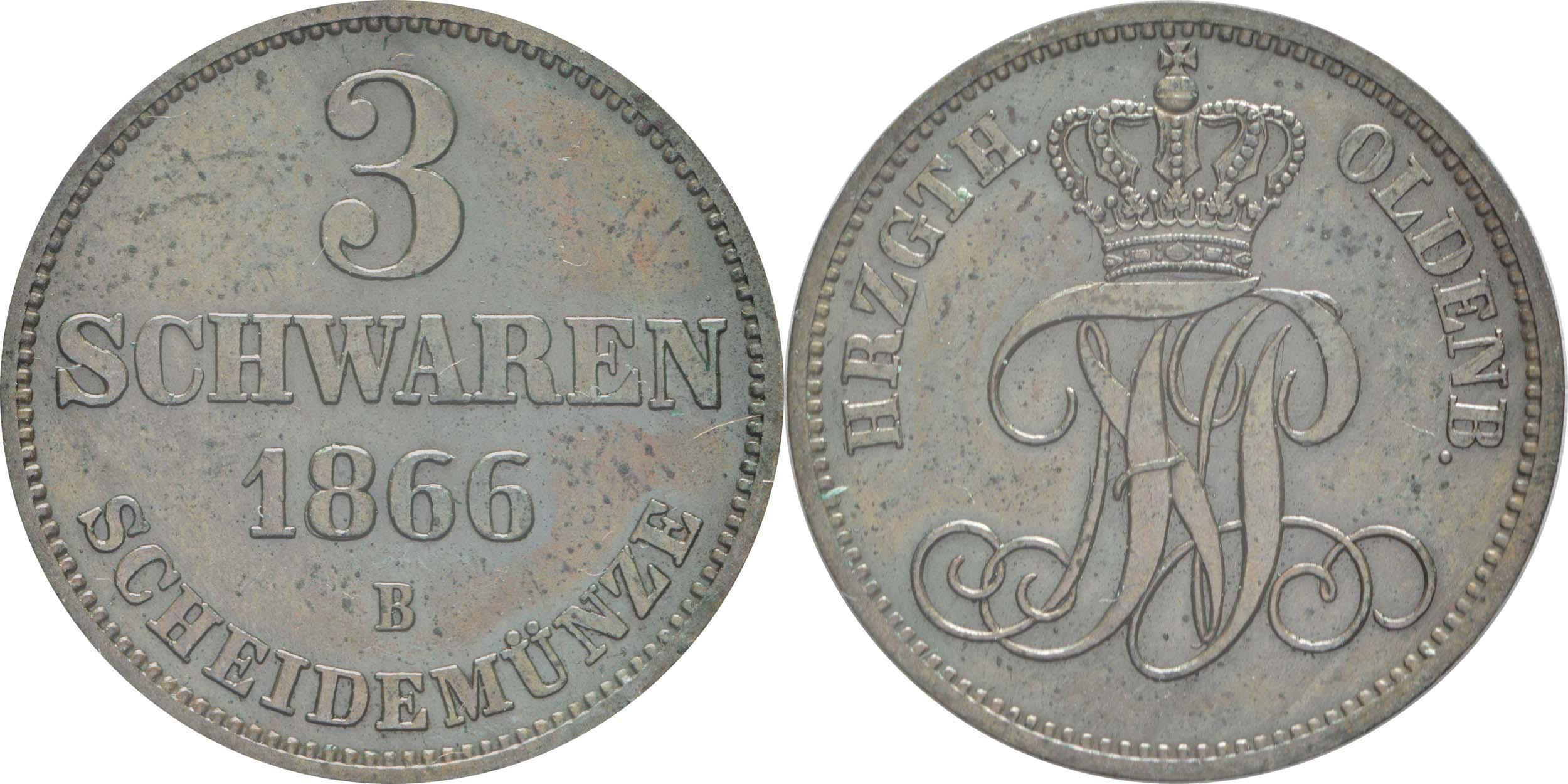 Deutschland : 3 Schwaren   1866 vz.