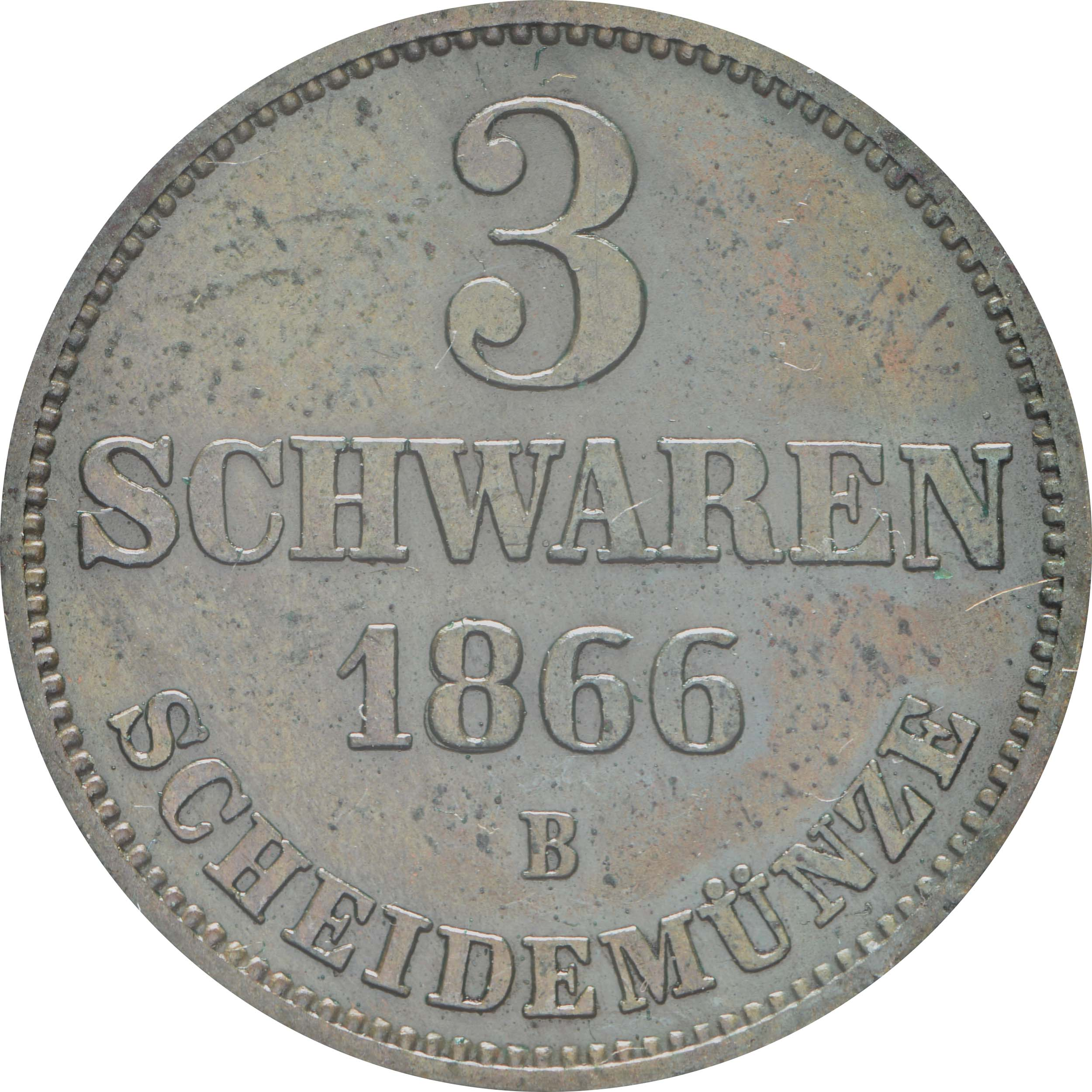 Vorderseite :Deutschland : 3 Schwaren   1866 vz.