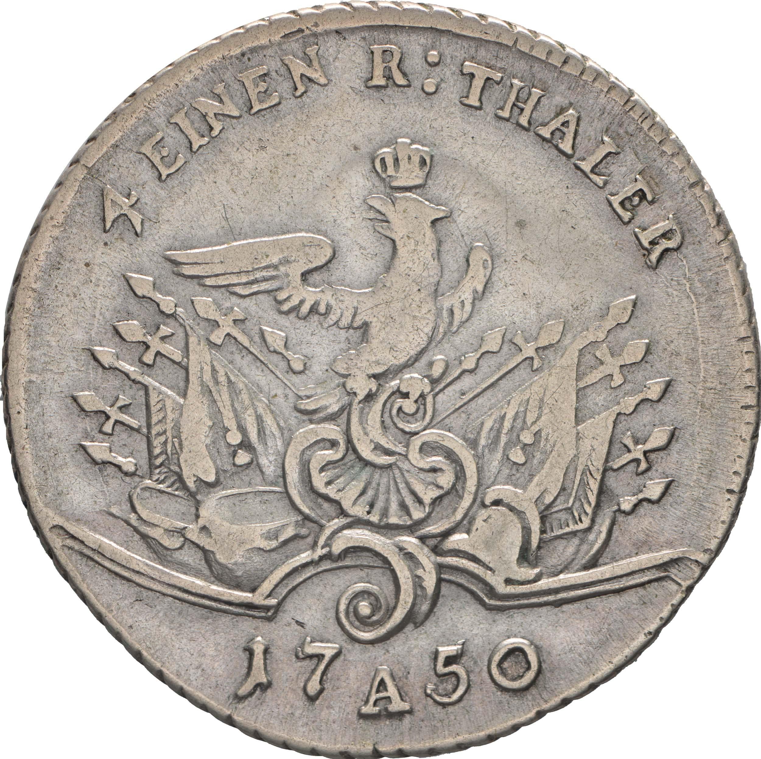 Bild der Rückseite :Deutschland - 1/4 Taler   1750 ss.