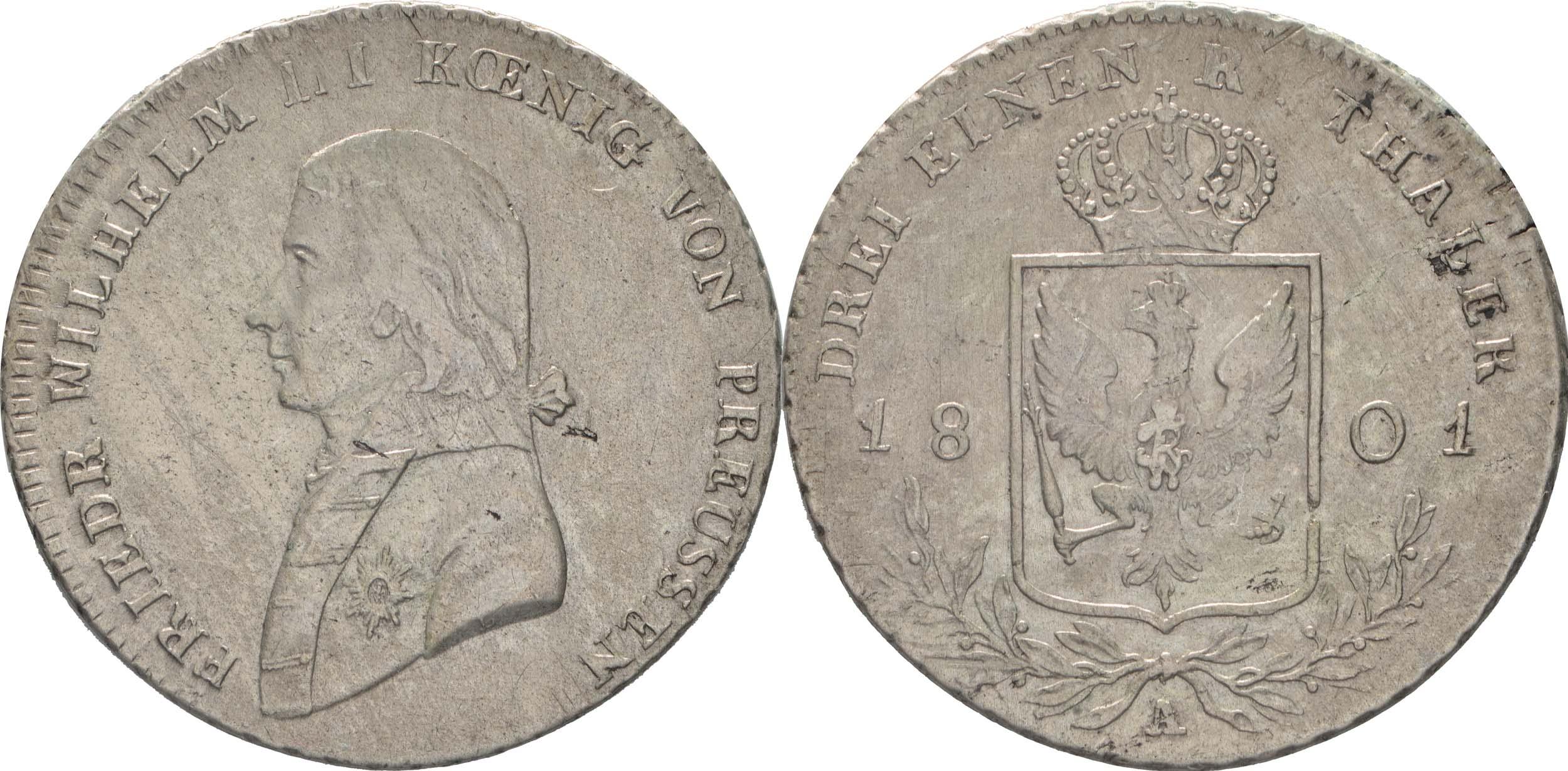 Deutschland : 1/3 Taler  -selten- 1801 s/ss.