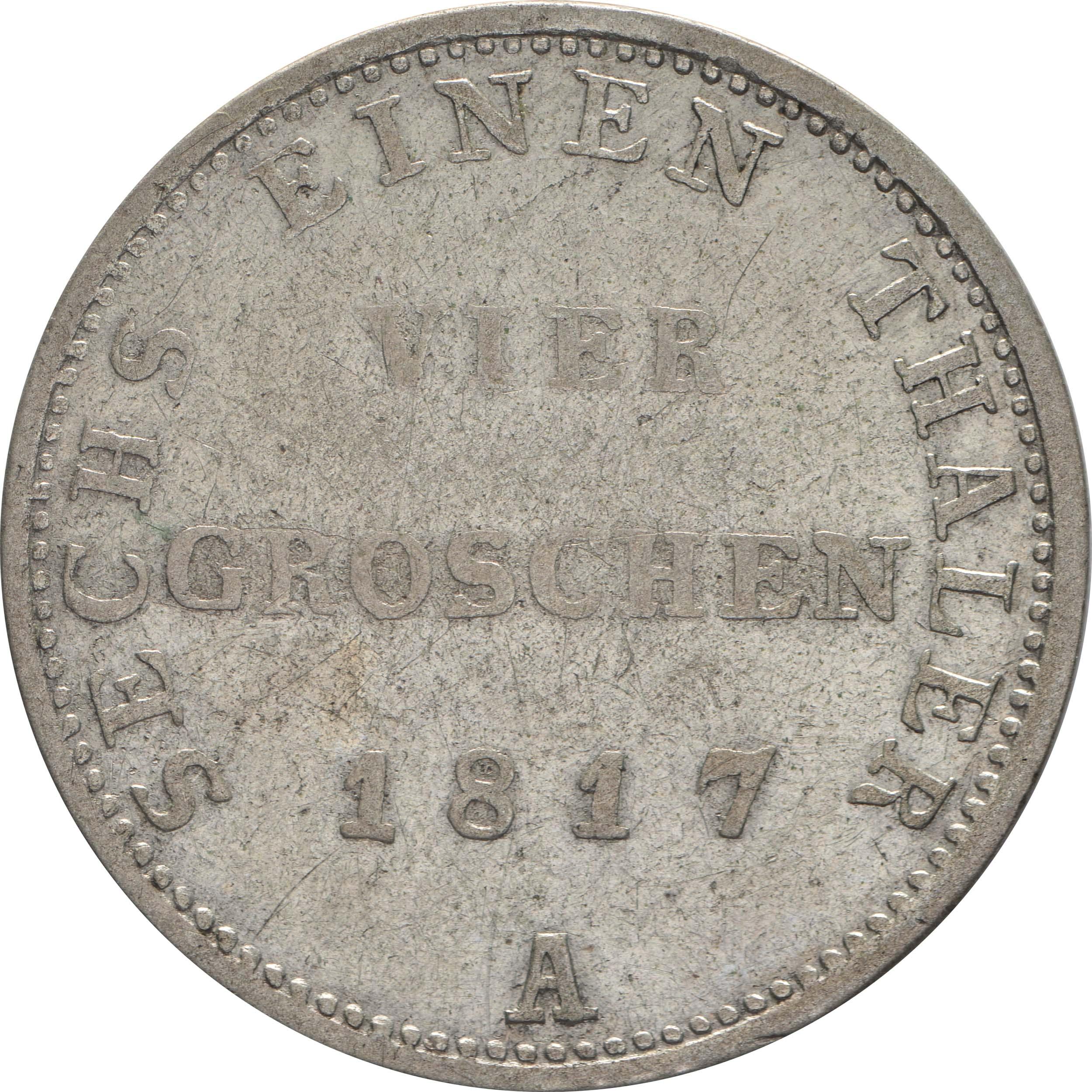 Rückseite:Deutschland : 1/6 Taler   1817 f.ss