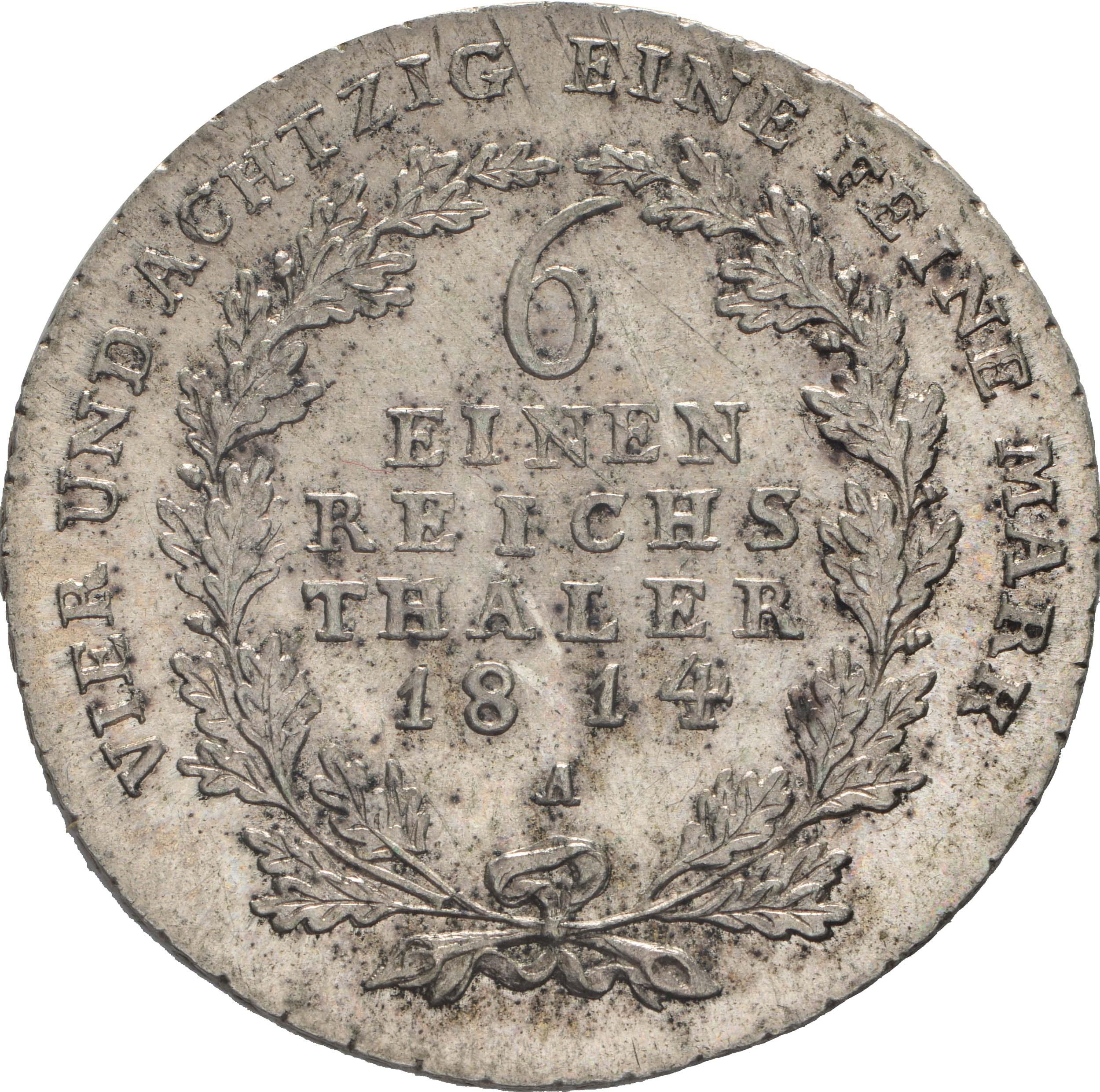 Rückseite:Deutschland : 1/6 Taler  -seltene Erhaltung- 1814 vz/Stgl.