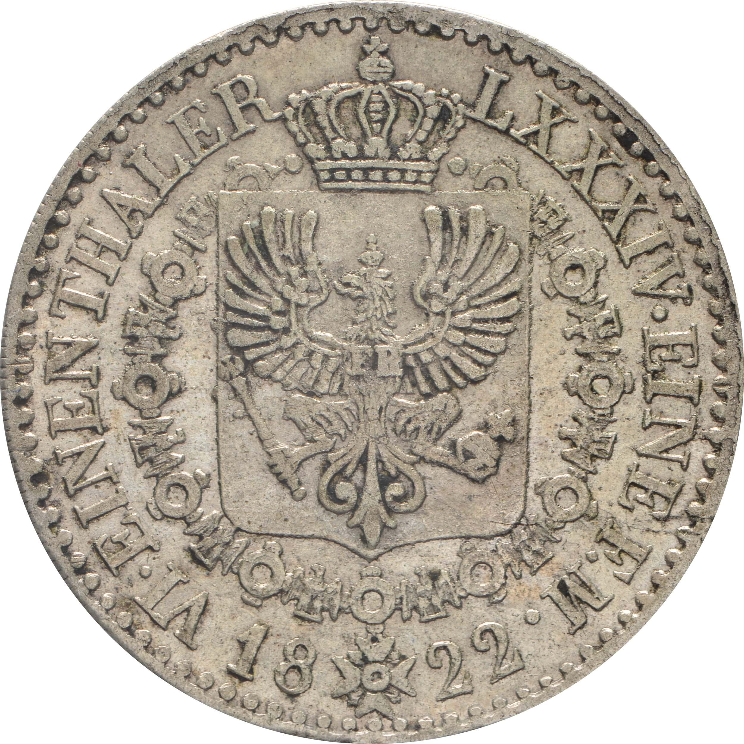Rückseite:Deutschland : 1/6 Taler  winz. Kratzer 1822 f.vz.