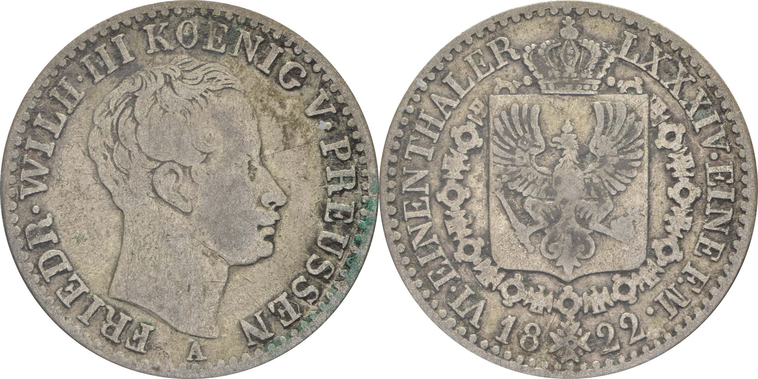 Übersicht:Deutschland : 1/6 Taler   1822 s/ss.
