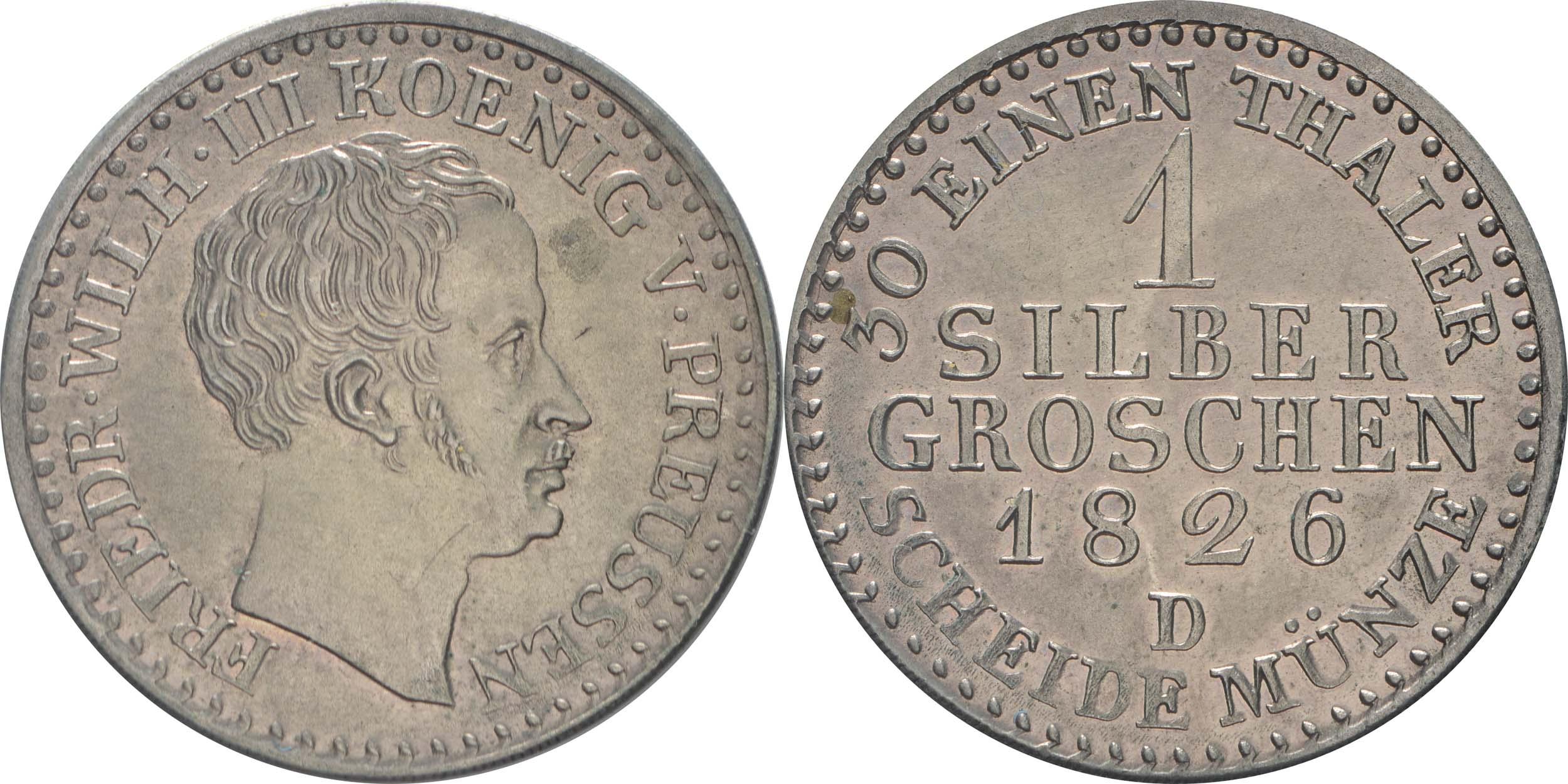 Lieferumfang:Deutschland : 1 Silbergroschen  Schrtlf. 1826 vz.