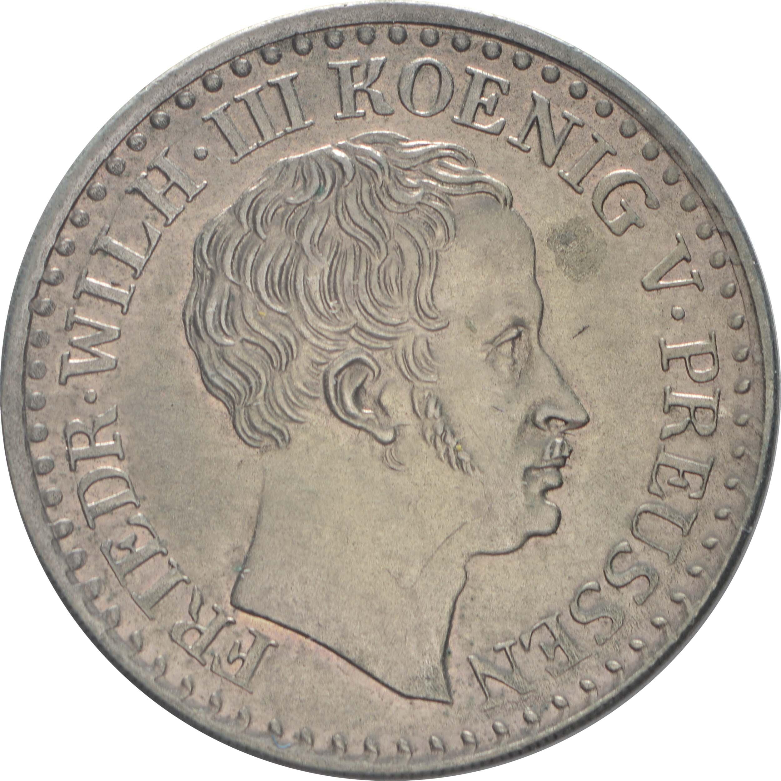 Vorderseite:Deutschland : 1 Silbergroschen  Schrtlf. 1826 vz.