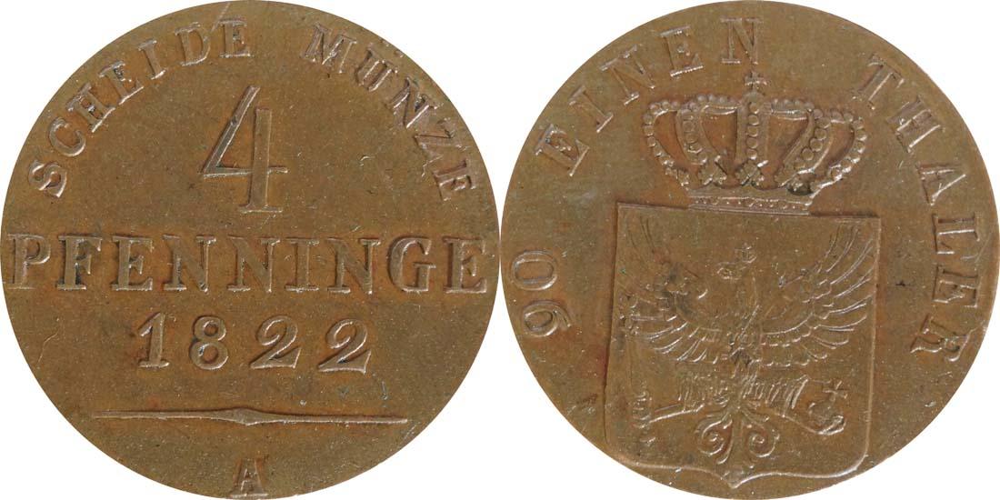 Deutschland : 4 Pfennig  -seltene Erhaltung- 1822 vz/Stgl.