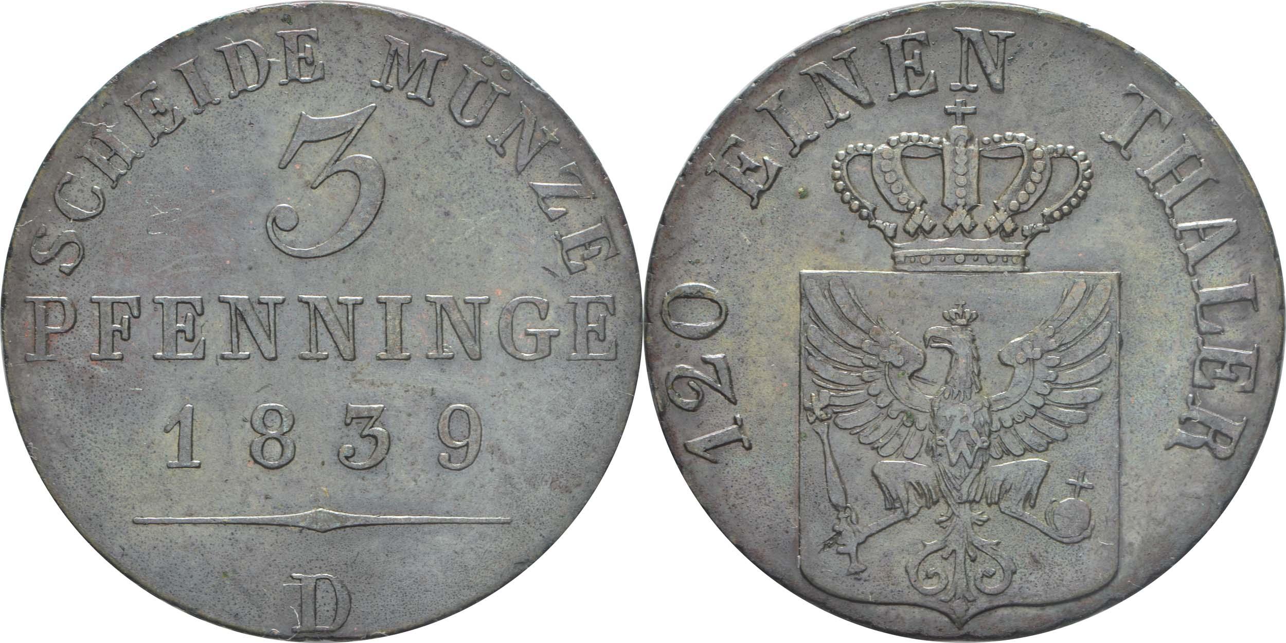 Deutschland : 3 Pfennige   1839 vz.