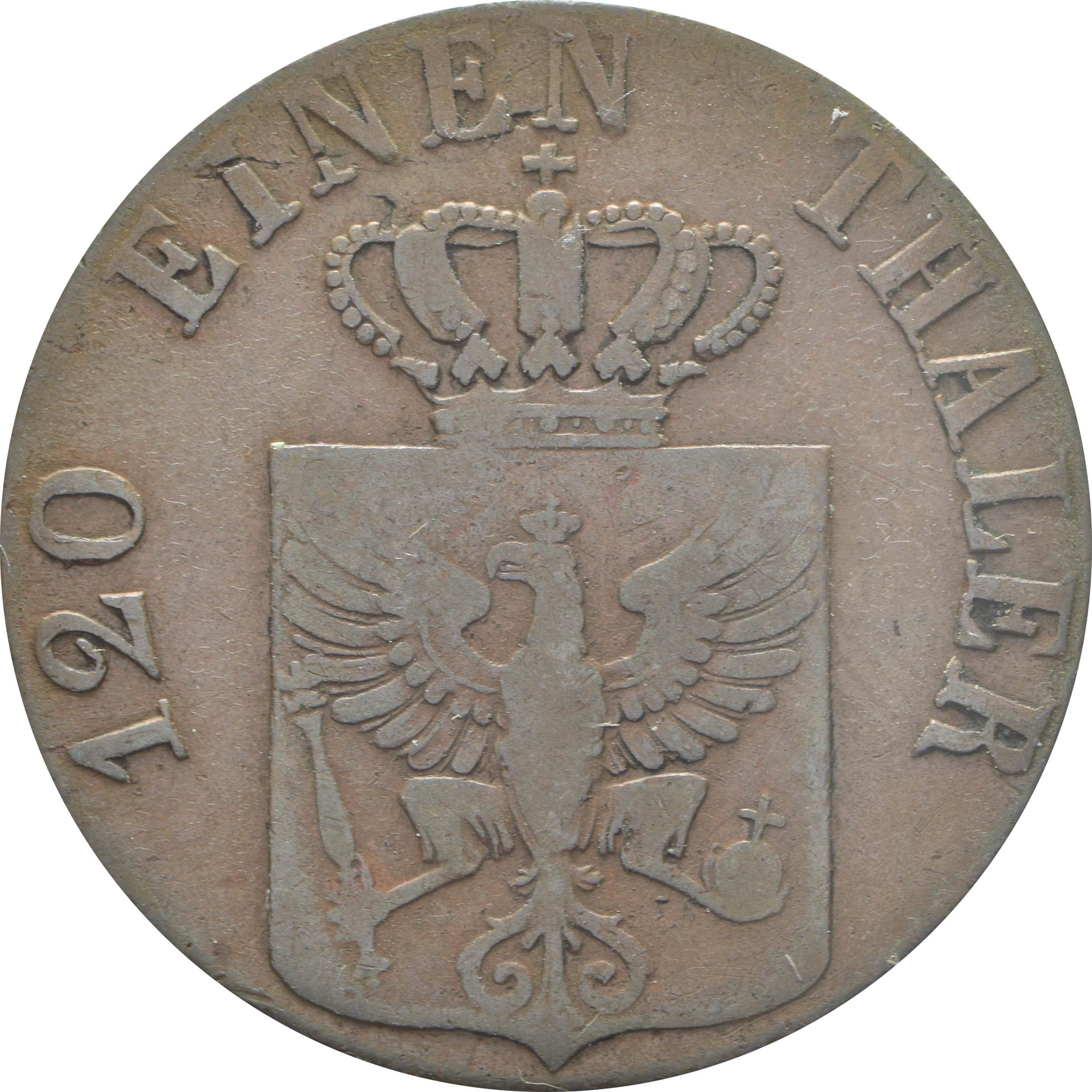 Rückseite:Deutschland : 3 Pfennig   1834 f.ss