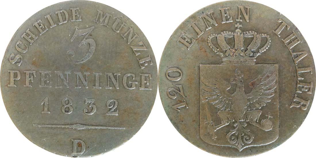 Deutschland : 3 Pfennig   1832 ss+