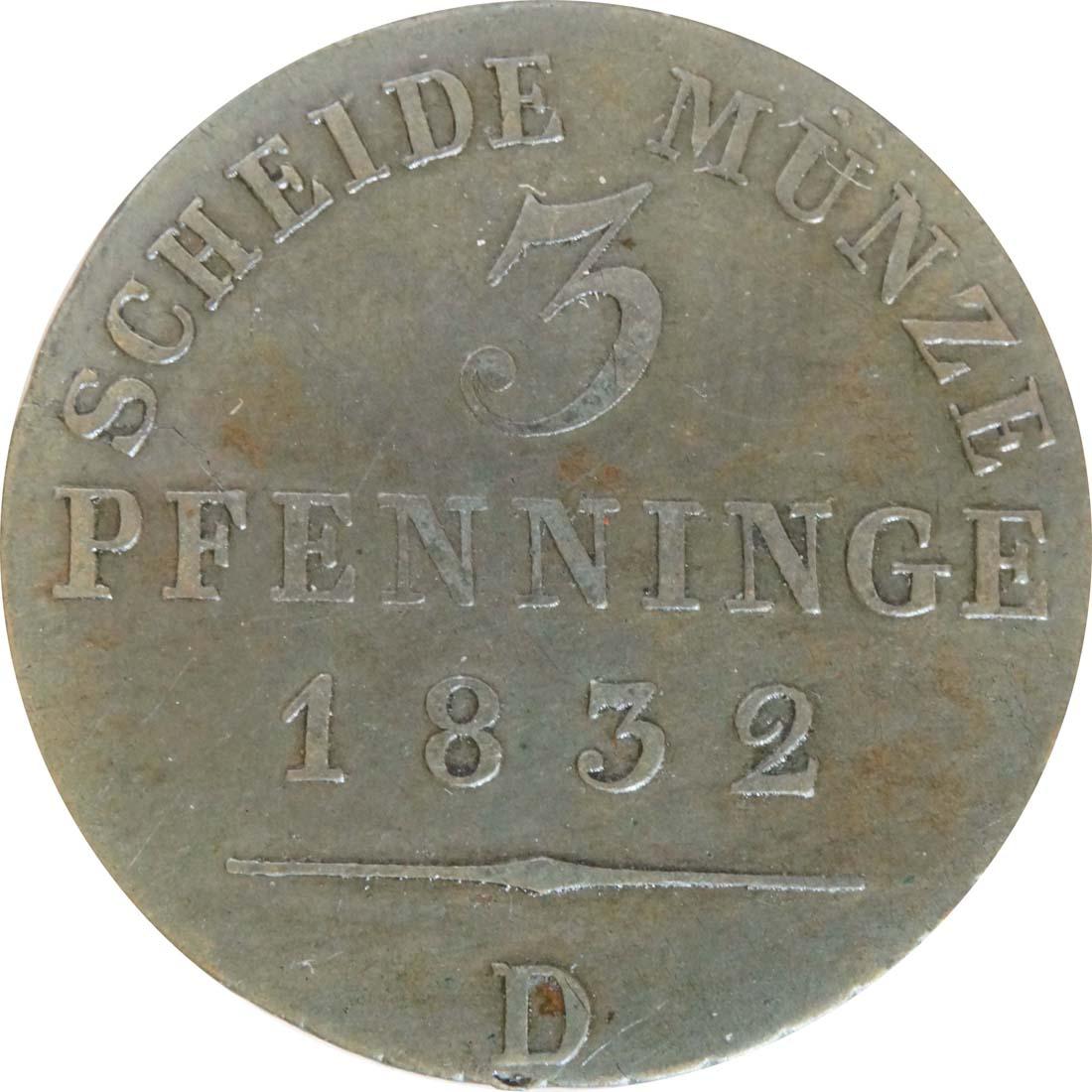 Vorderseite:Deutschland : 3 Pfennig   1832 ss+