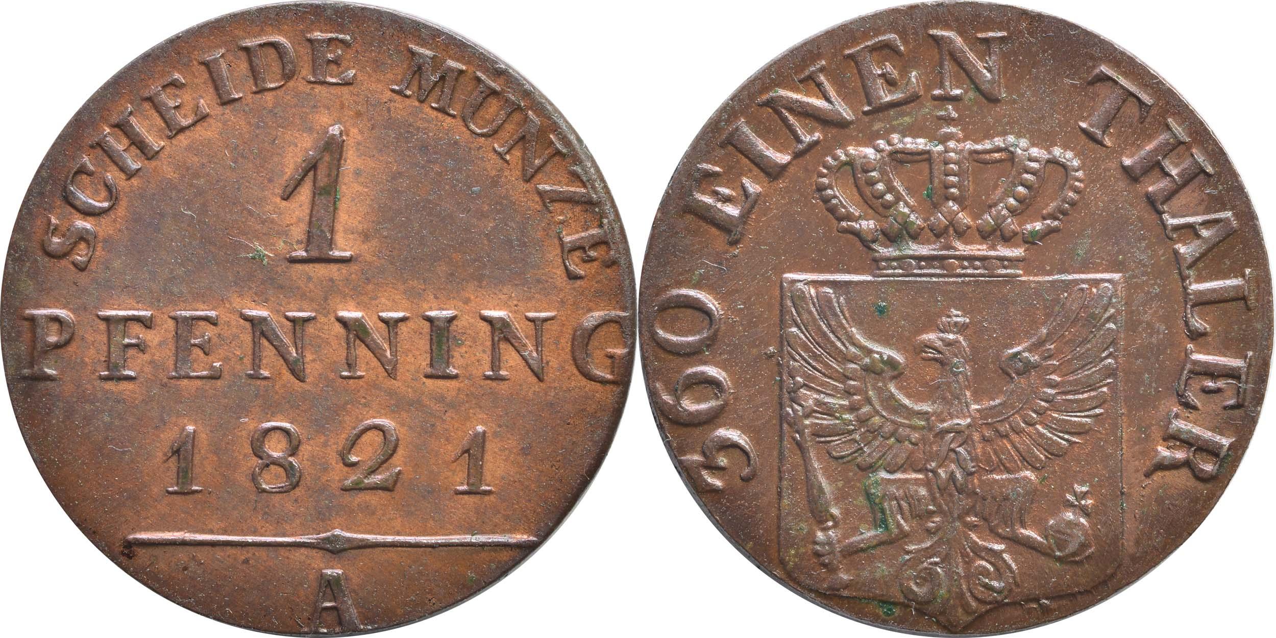 Deutschland : 1 Pfennig   1821 Stgl.
