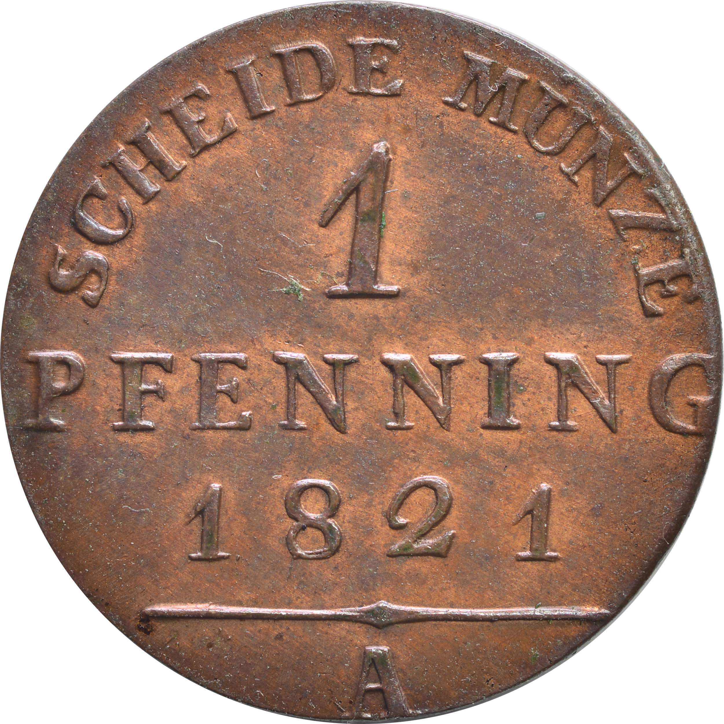Vorderseite :Deutschland : 1 Pfennig   1821 Stgl.