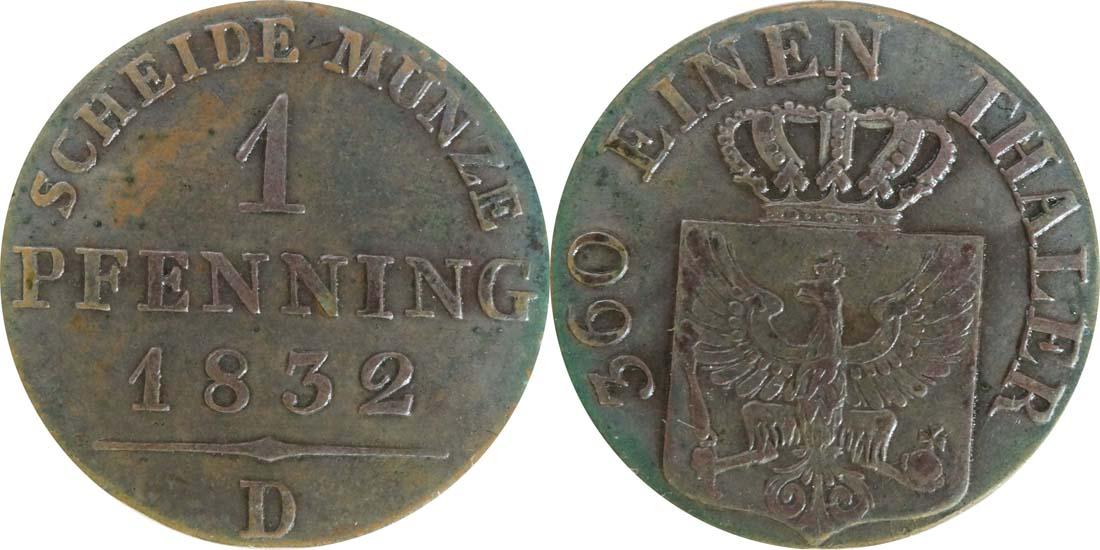 Übersicht:Deutschland : 1 Pfennig  patina 1832 vz/Stgl.