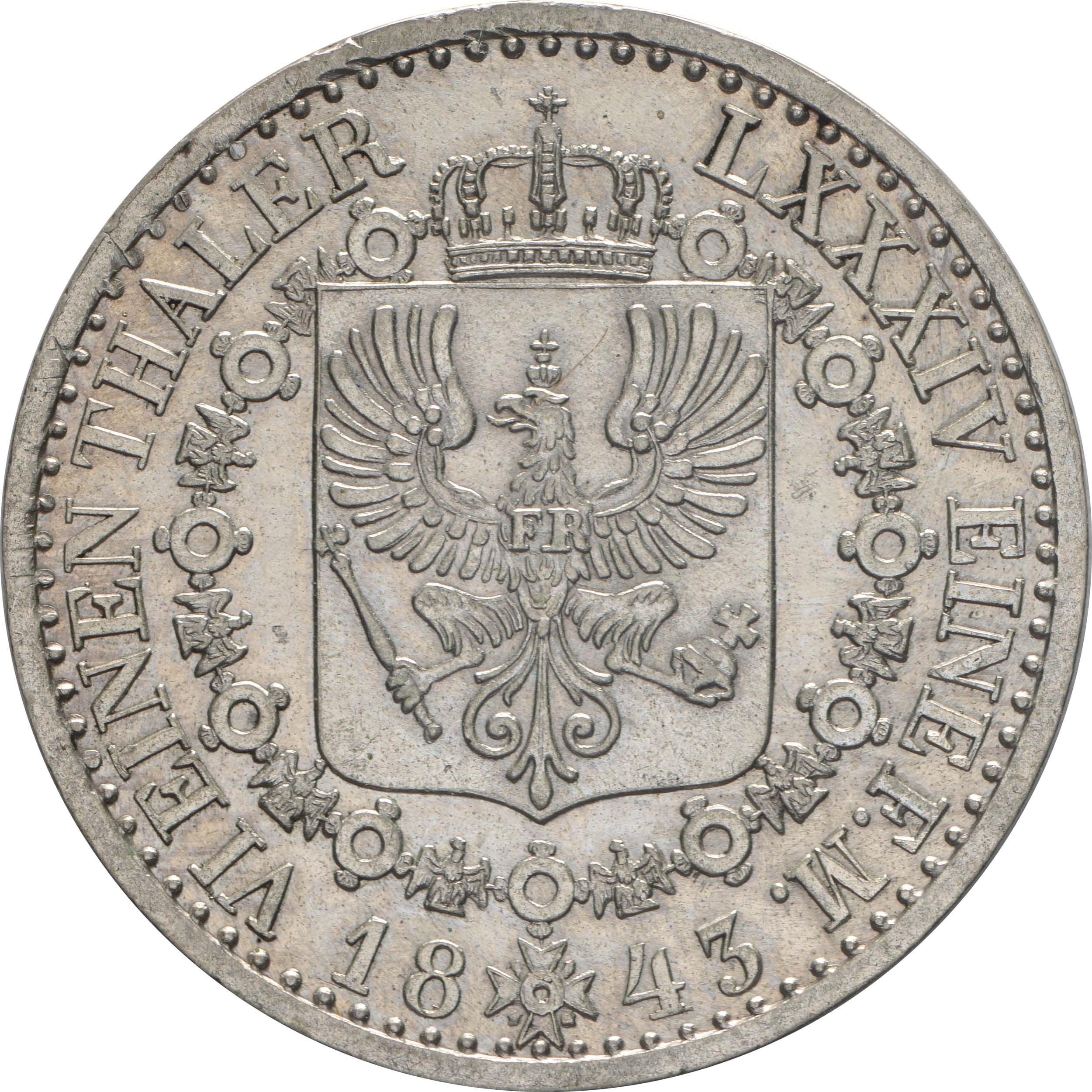Rückseite :Deutschland : 1/6 Taler   1843 vz/Stgl.