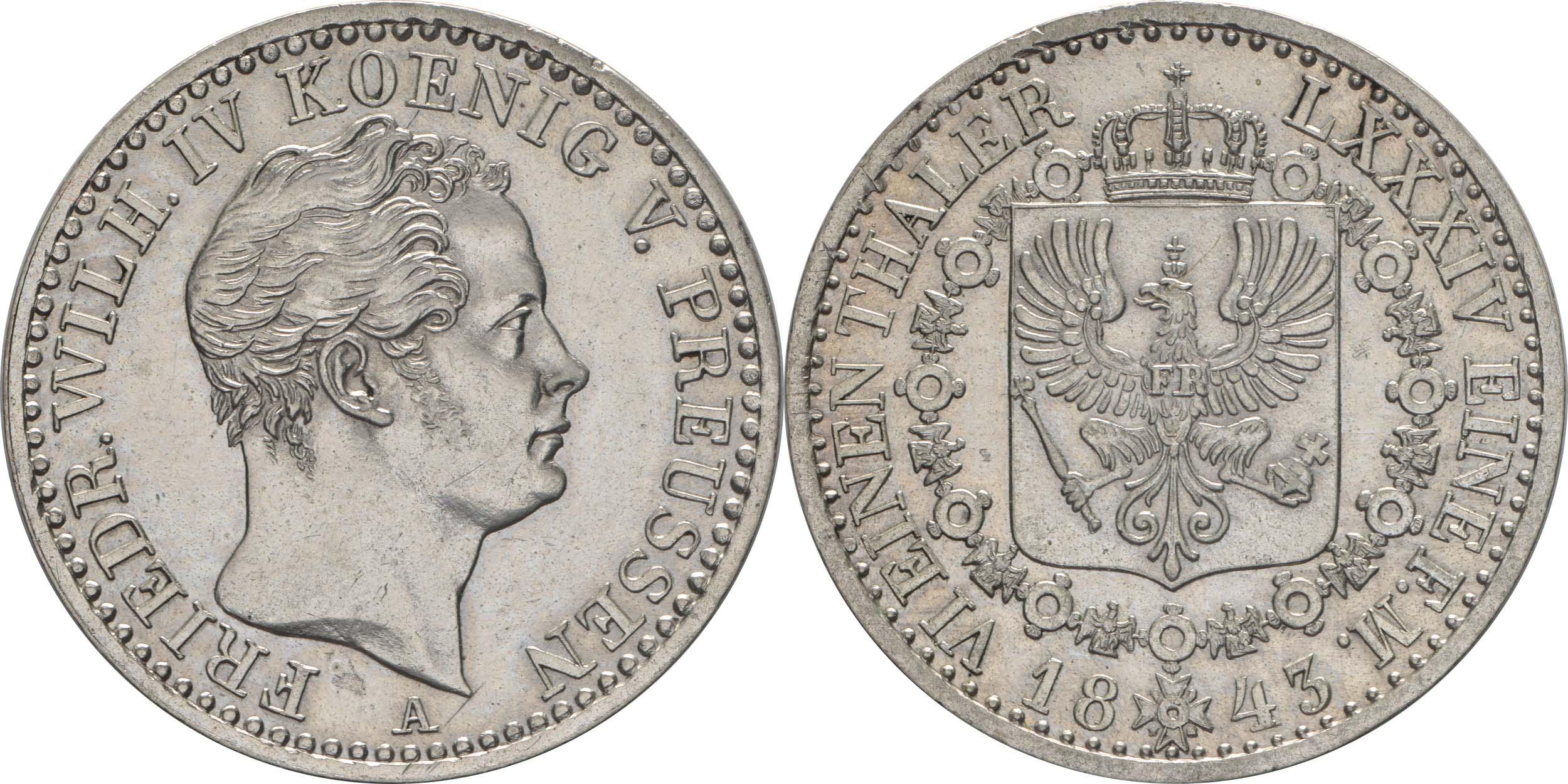 Übersicht:Deutschland : 1/6 Taler   1843 vz/Stgl.